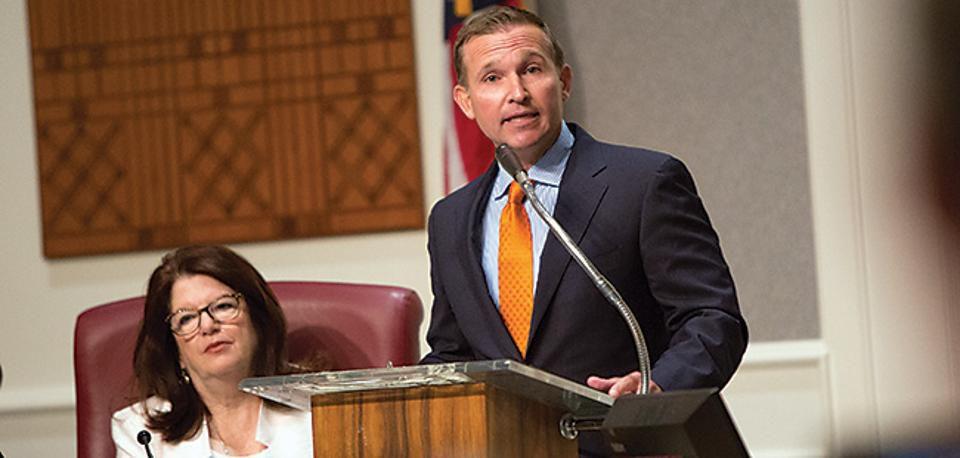 Mayor Lenny Curry addresses the City of Jacksonville.