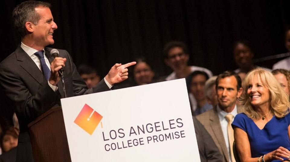 Los Angeles Mayor Eric Garcetti introduces the L.A. College Promise proposal with Dr. Jill Biden at Los Angeles City College.