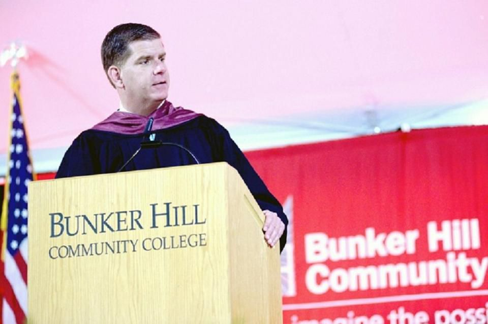 Boston Mayor Marty Walsh delivers the commencement address at Bunker Hill Community College.
