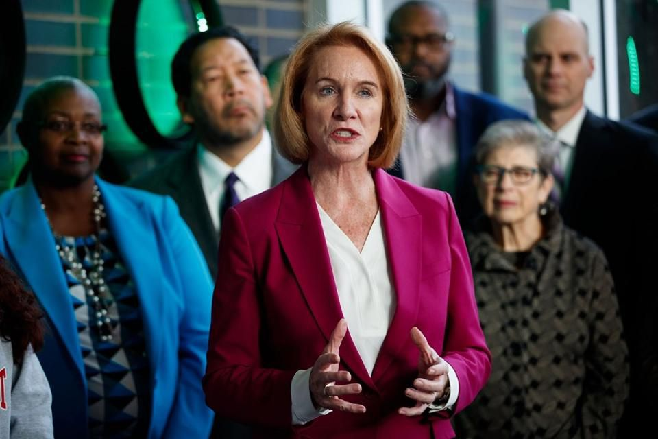 Seattle Mayor Jenny Durkan speaks at South Seattle College on Wednesday about steps toward creating the Seattle Promise college-tuition program for two years of free college for Seattle Public School grads.