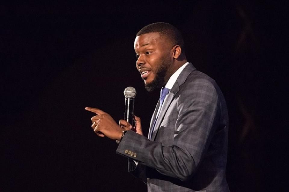 Stockton Mayor Michael Tubbs speaks to city leaders and residents.