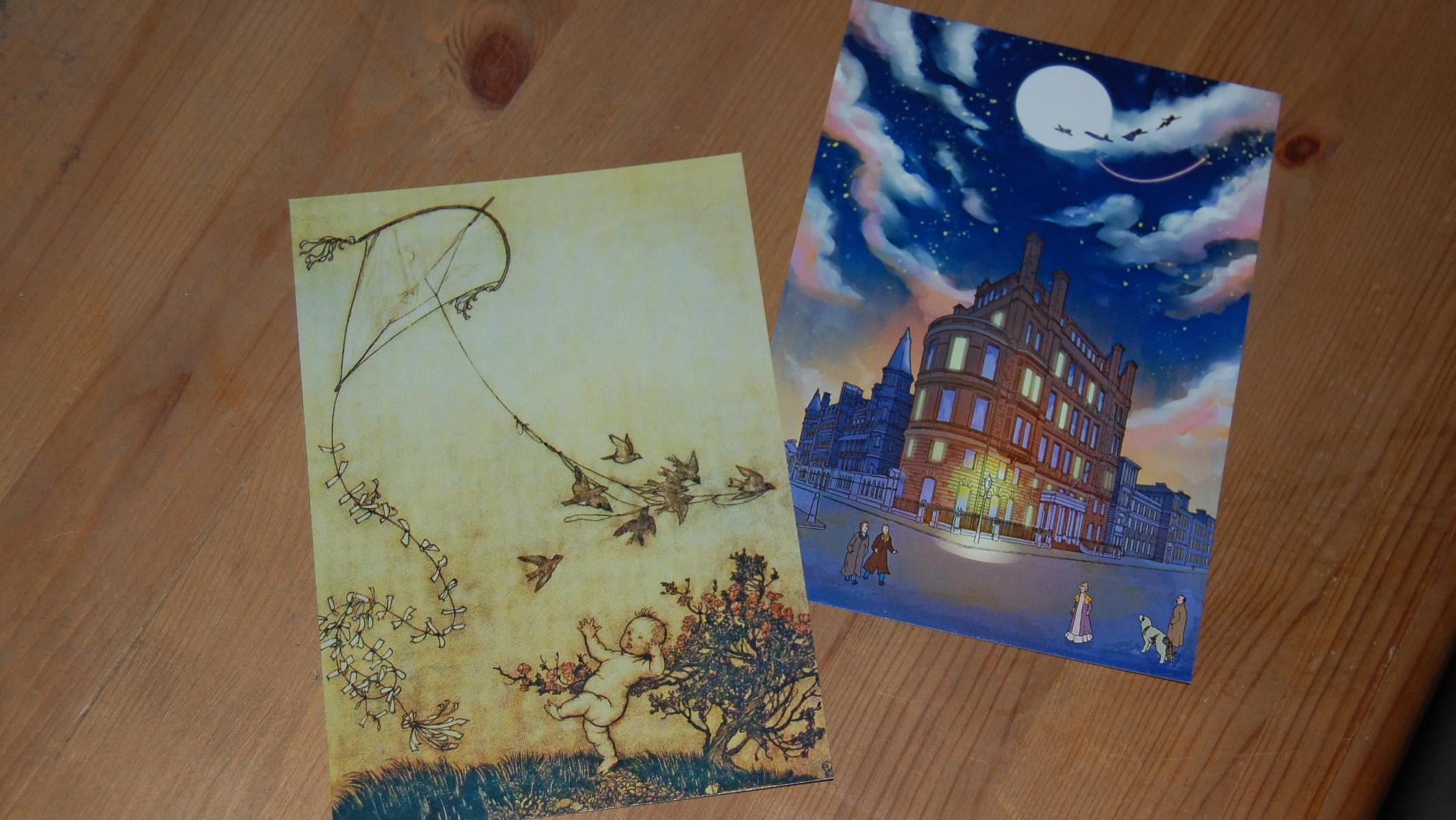 Peter Pan illustration on left by Arthur Rackham; illustration on right by Stref (Stephen White). Both postcards bought at exhibition.