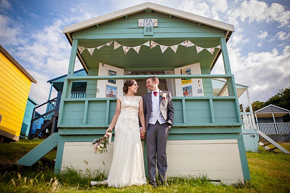 whitstable wedding, beach huts, colourful wedding, Kent wedding