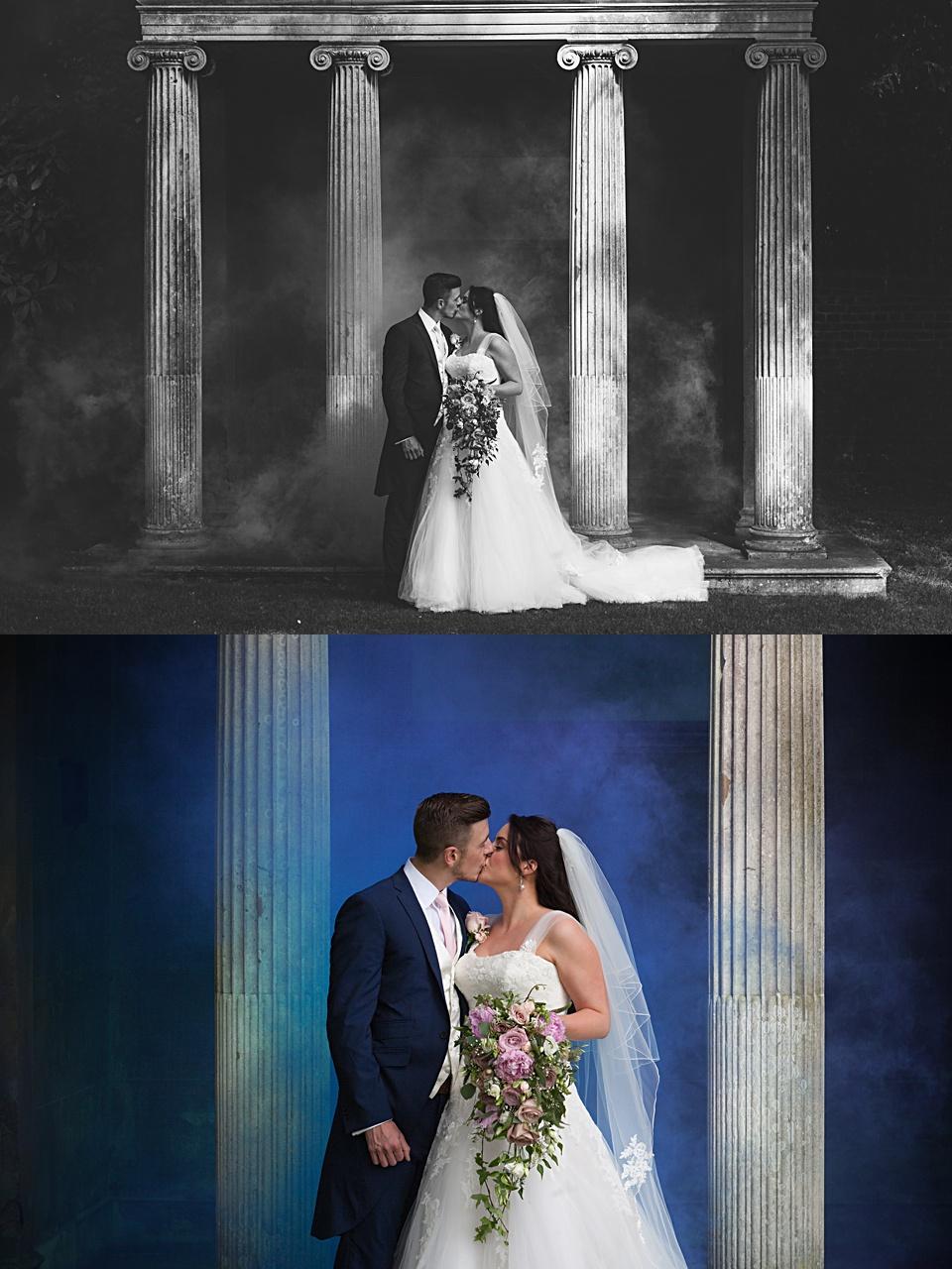 wedding photography, smoke grenades, cobham hall wedding, British wedding