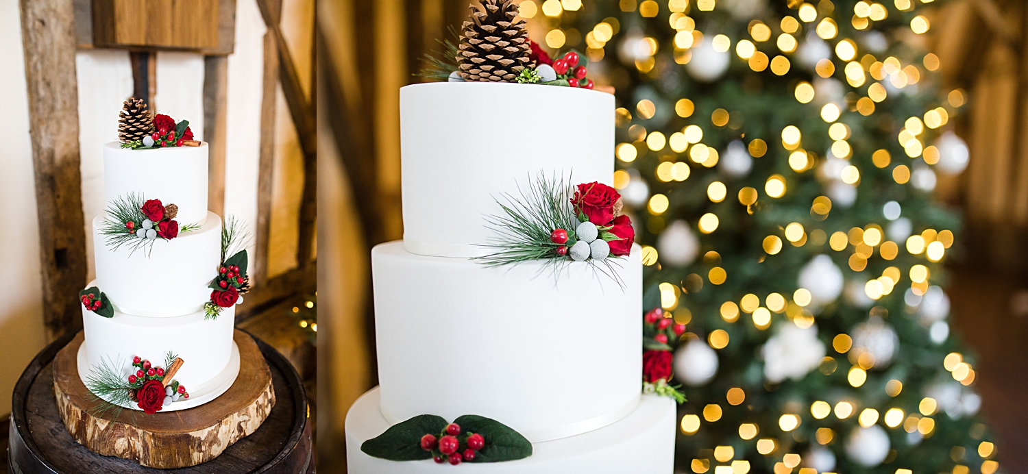 Christmas cake at winter barn wedding