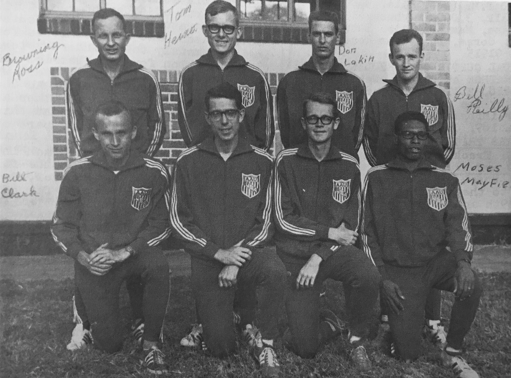 Tom Heinonen, Pictured in the Upper Row (Middle-left), becomes the first TCTC athlete to represent TEam USA in International Competition as a member of the 1968 USA International XC team.