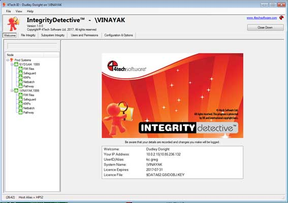 Click image for a full selection of grabs showing key Integrity Detective screens