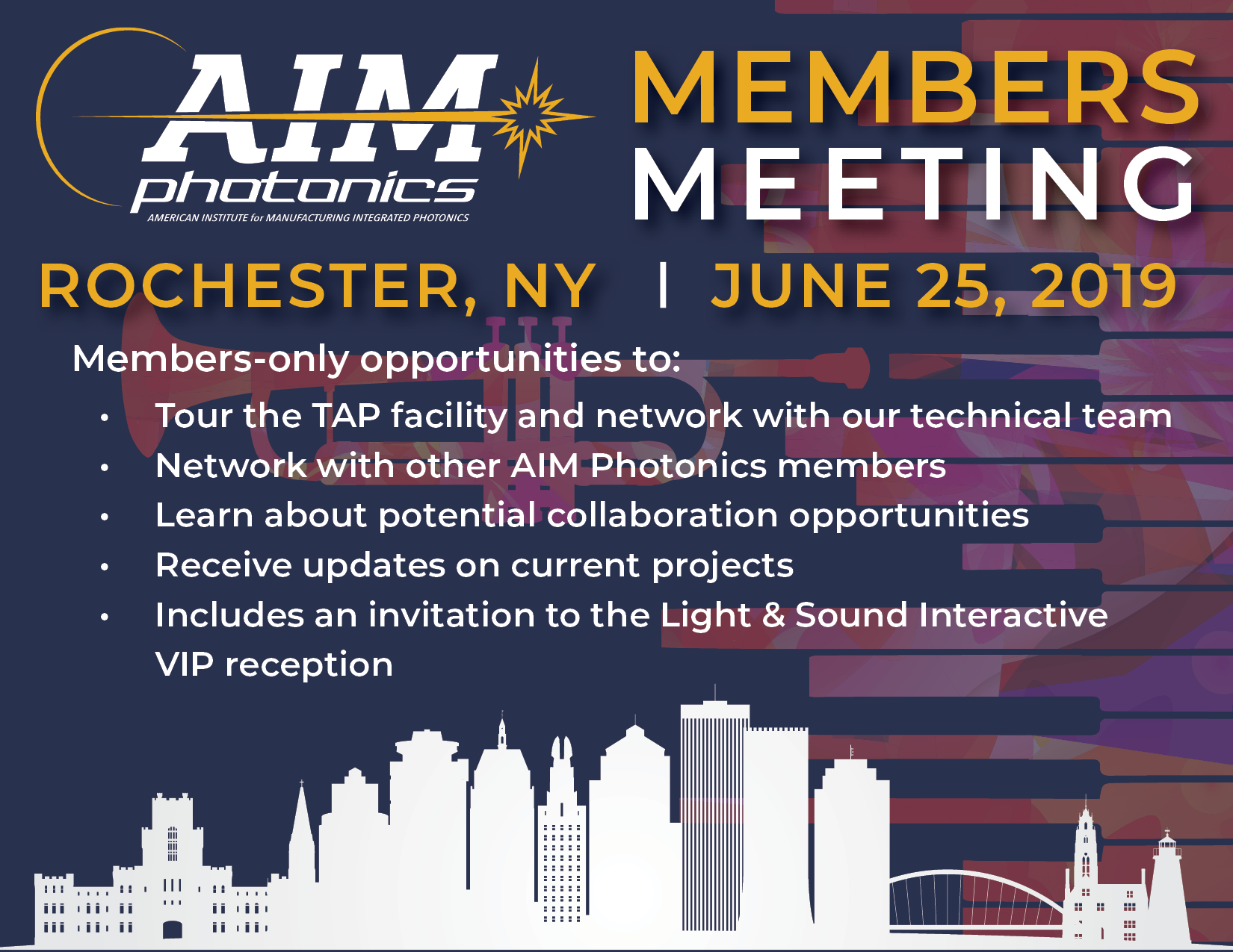 Meeting includes tour of AIM's Test, Assembly, and Packaging (TAP) Facility, followed by VIP reception. Receive updates from Keynote Lockheed Martin, and participate in Workshop on Small Business Innovation Research (     SBIR     ) program funding opportunities.