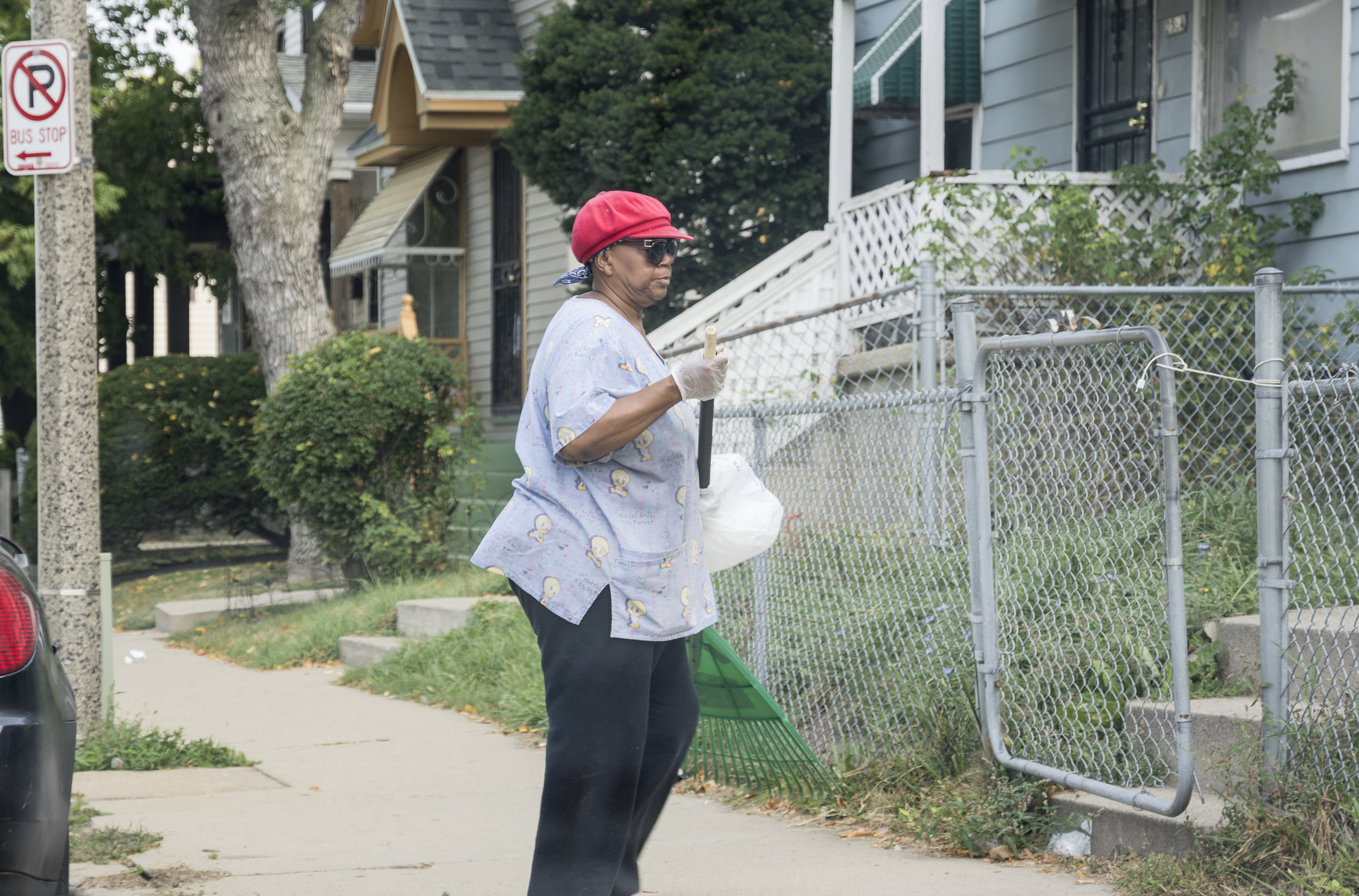 """Elnory Burey is 67. She has lived on this block for 40 years and is one of only two residents who still own their homes. The other homes are either condemned or rentals. She said, """"Folks used to be nice back then. Now there is too much robbing and violence."""""""