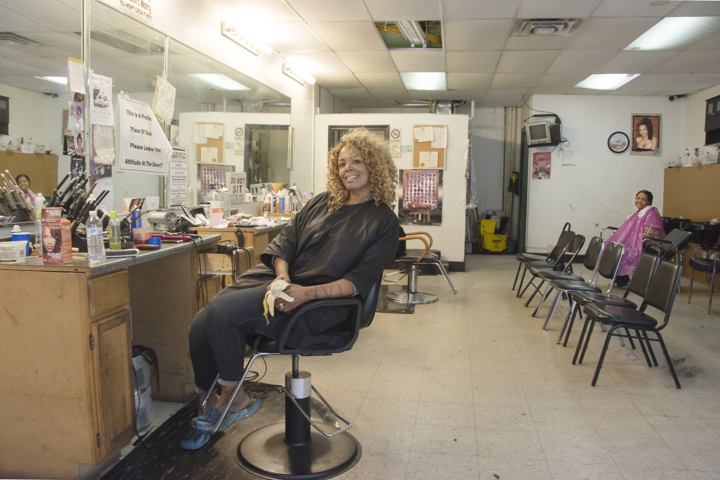 """Roz Evans operates her hair salon, ROZ, on 27th in a dangerous neighborhood where gangs operate. """"You live around here?"""" I asked. """"Hell, no,"""" she said. """"Too much shit goes on here. Lots of robberies, beatings, even killings. You'd better get the hell out of here or they'll steal that camera right off your back.""""   A year later when I returned, the ROZ salon was closed up. A sign said Roz Evans had moved her salon to a safer neighborhood."""