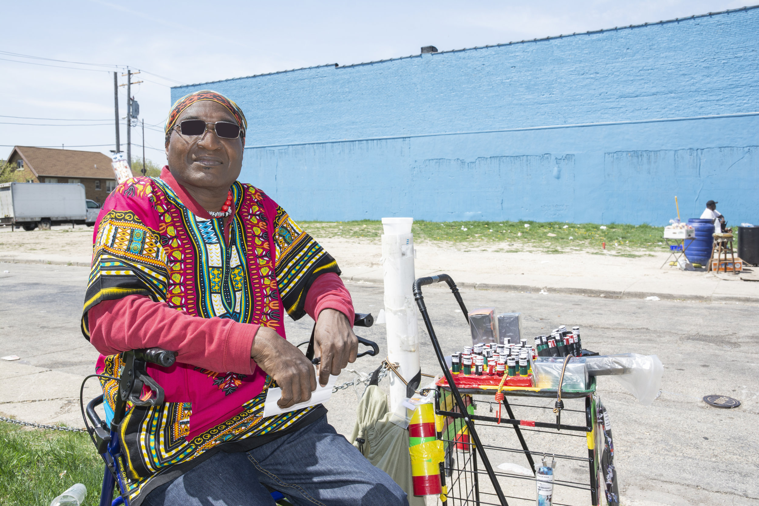 Rico is only 47 but he is disabled. In Atlanta, he repaired air conditioners and furnaces. The physical work wrecked his back for which he takes prescription opioids. He now lives in Milwaukee with his cousins and sells perfume oils across from the welfare center.