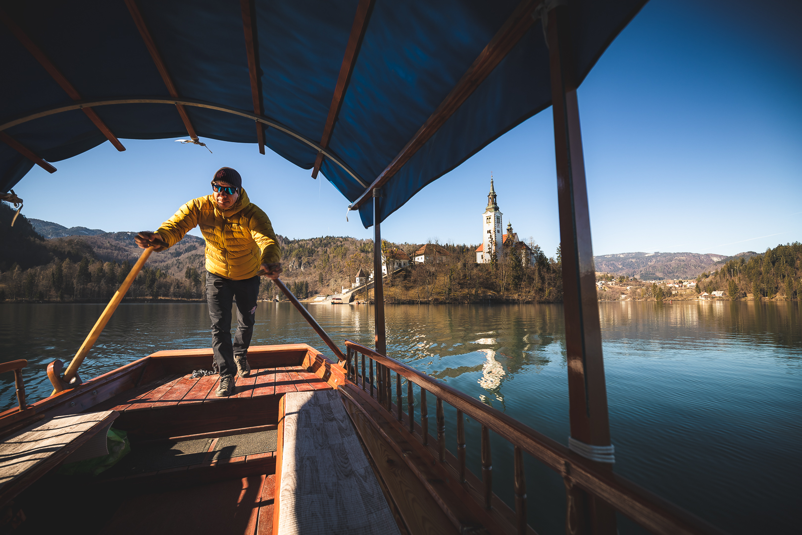 A traditional Pletna boat ride in Lake Bled.