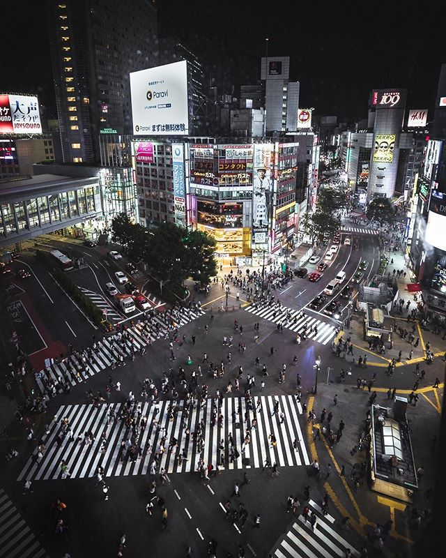 🏙 Rush hour… • Shibuya is one of those places that doesn't seem real. It's an incredible demonstration of the organization of modern civilization — bright flashing lights, streams of fast-moving people, loud advertisements, and constant change. Definitely have to make it back to Japan this year. ….. @BeautifulDestinations #DiscoverEarth