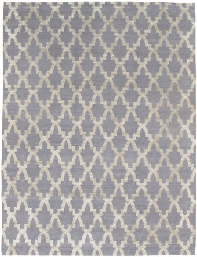 """RIAD SILVER"" WOOL AND SILK RUG"