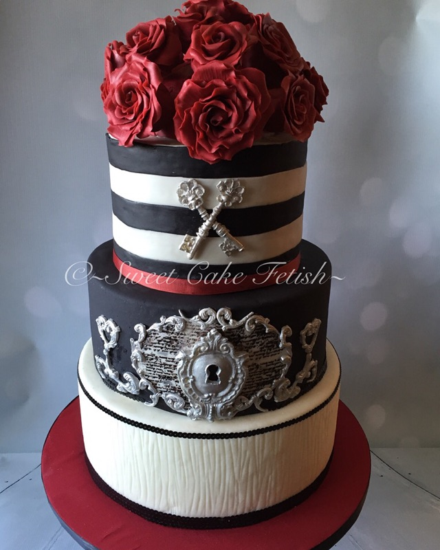 We were delighted to design make and deliver this red, black and white cake to The Milan this past weekend for a beautiful and elegant retro style the wedding. This cake is 100% edible. Both Bride and groom were in love! I have to say, I was in love too!