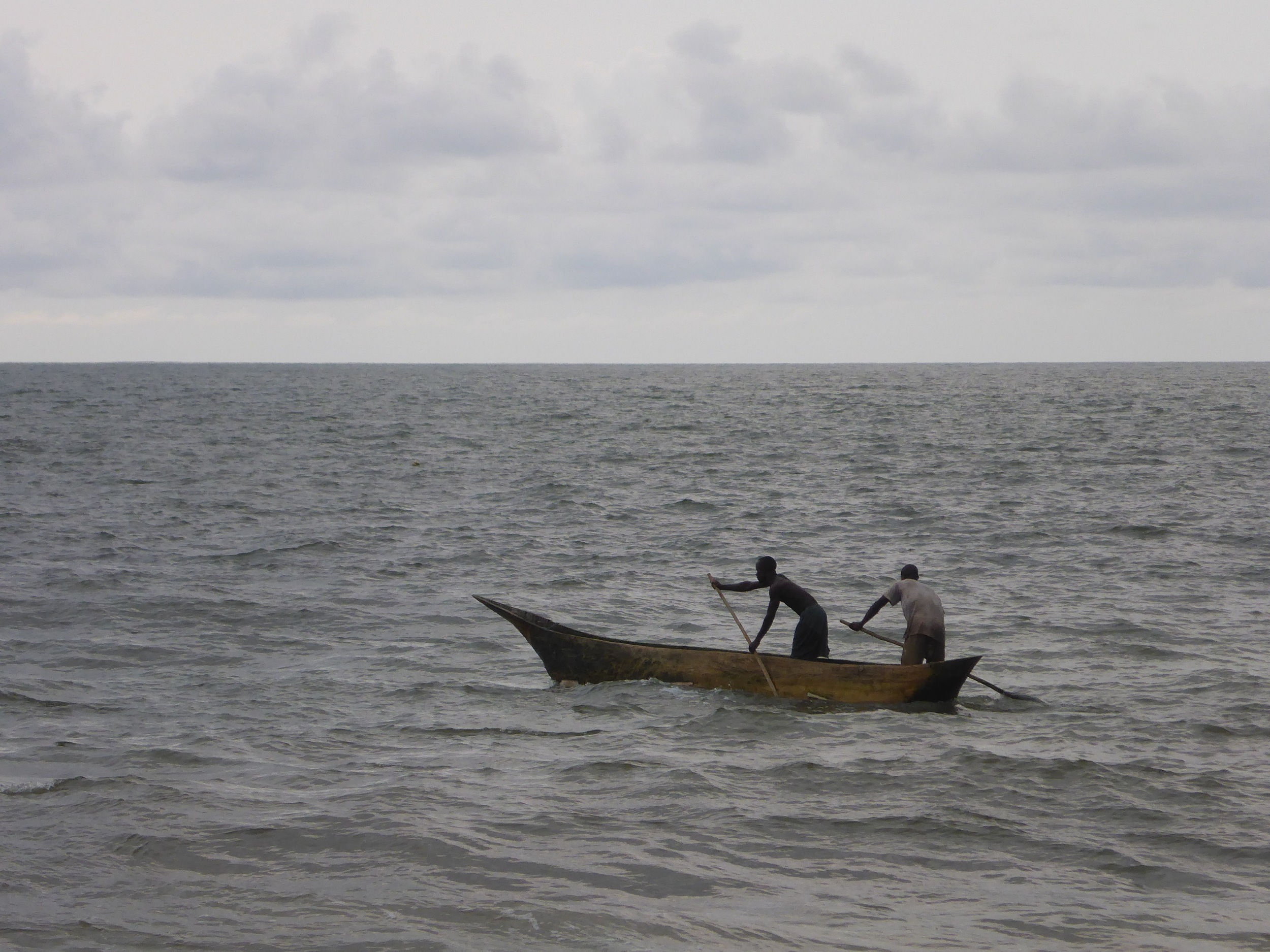 Typical small-scale fishing boat (pirogue) employed by fishers in Conkouati-Douli National Park in the Republic of Congo. Photo: Kristian Metcalfe