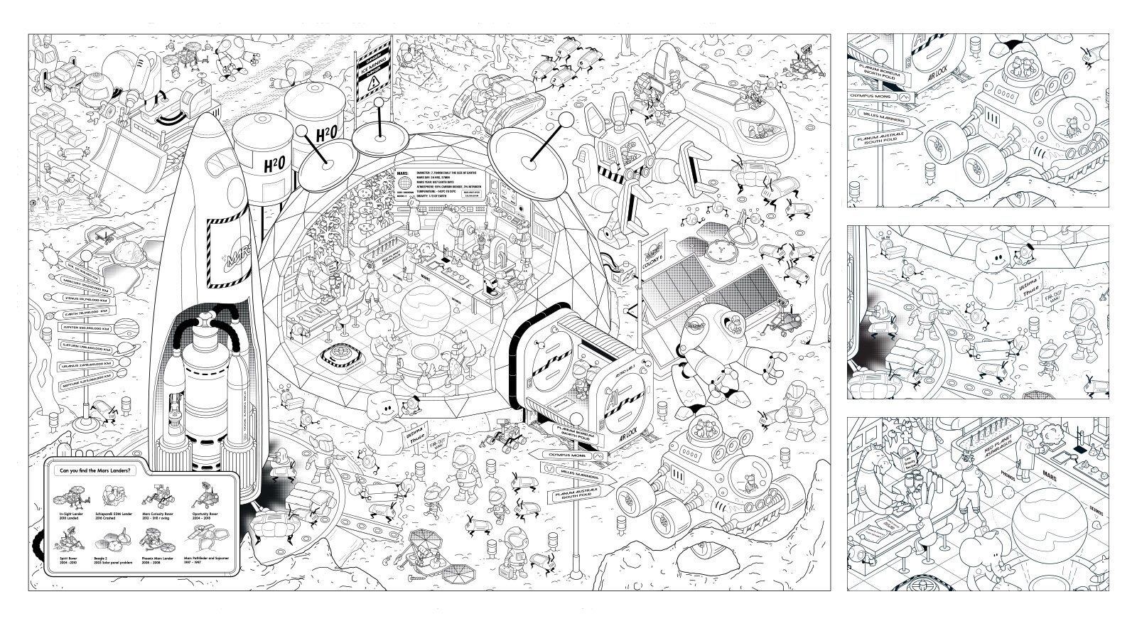 Mars Base Colouring In Poster for Mocolco