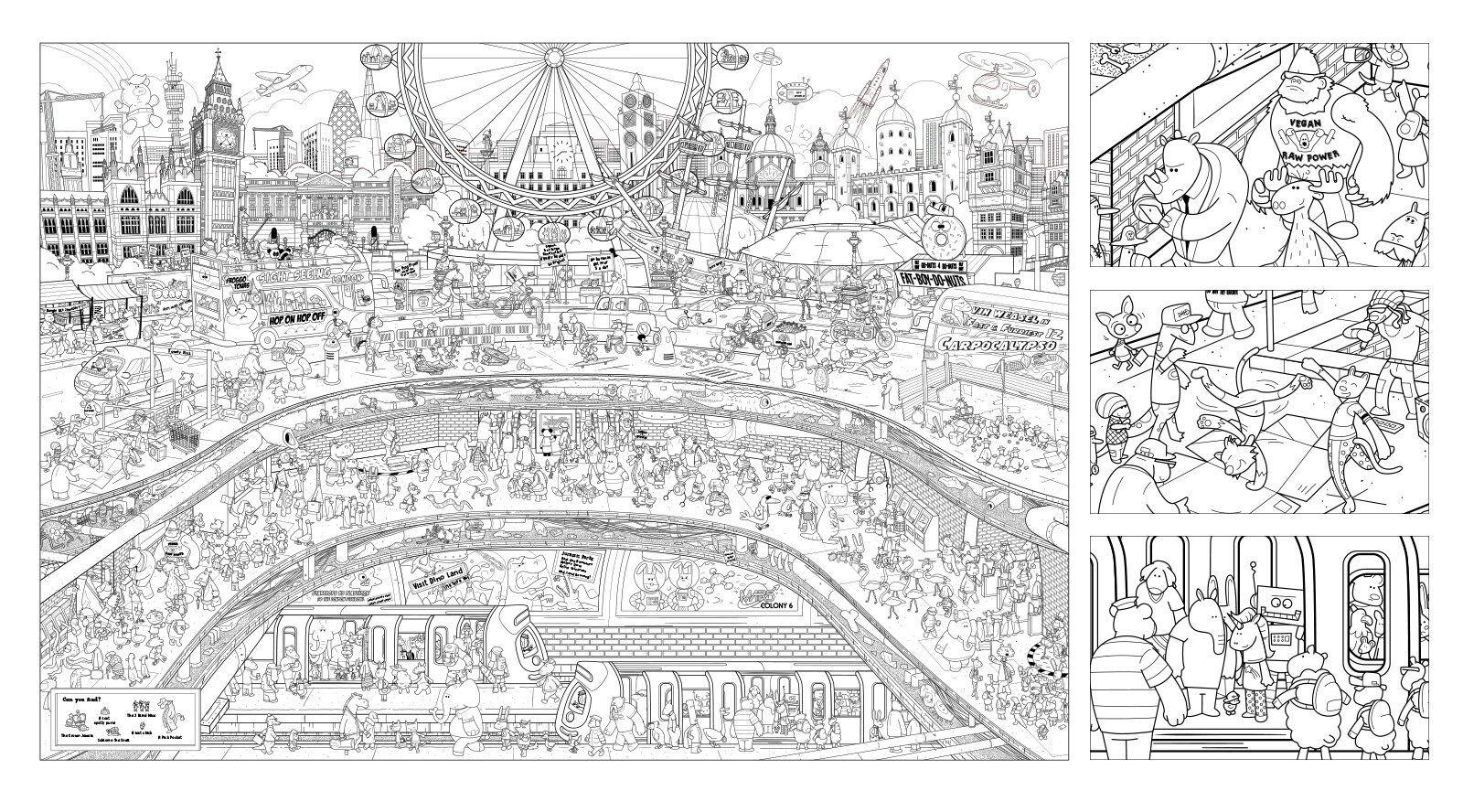 London Colouring In Poster for Mocoloco