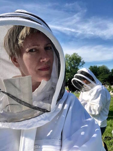 me in a bee jacket and veil…ready for takeoff!