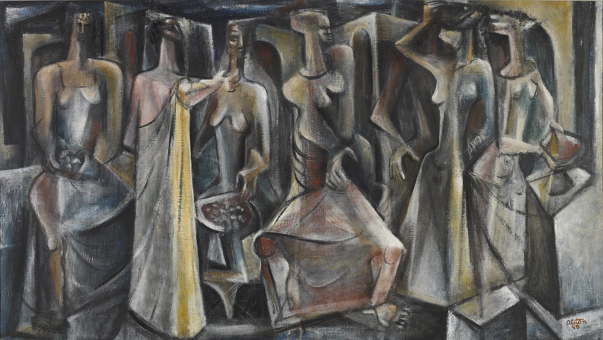 SOLD  Untitled (Seven Figures), 1949  , oil on canvas, 20 x 36 inches