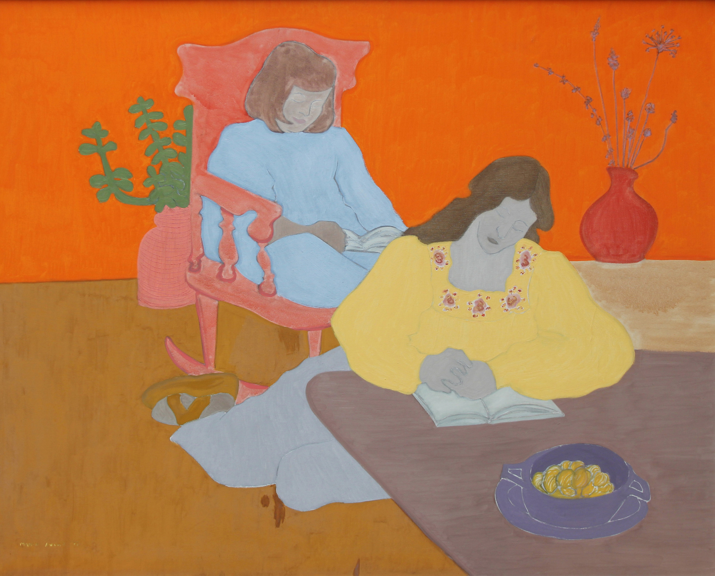 SOLD  Quiet Time - Emily & Martha, 1977  , oil on canvas, 50 x 62 inches