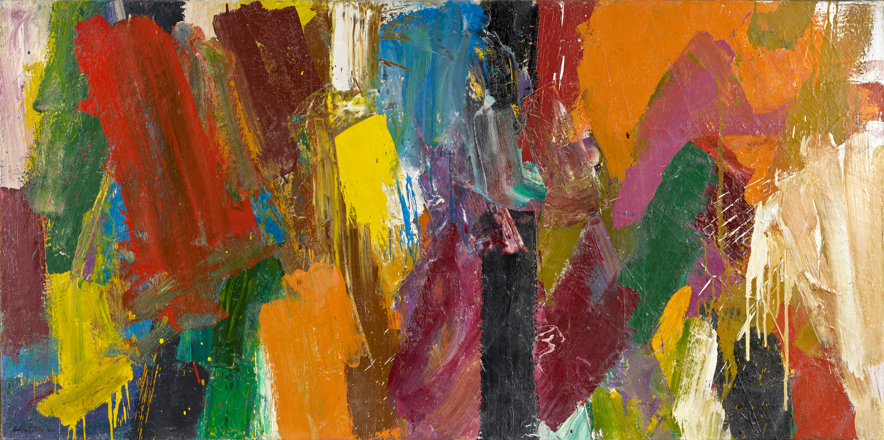 SOLD   Earth Forms, 1960 , oil on canvas, 36 1/2 x 72 1/2 inches