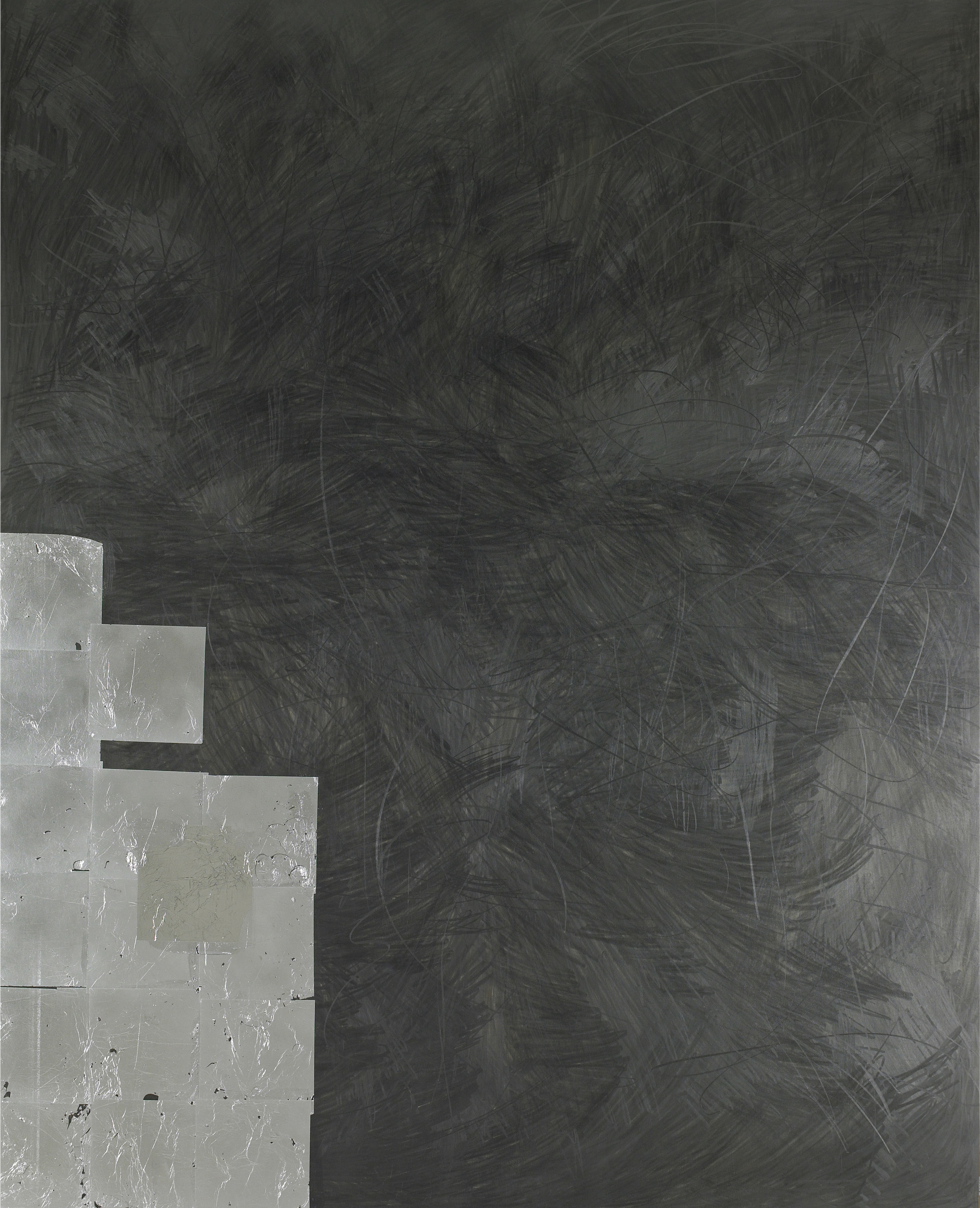 Chill Drink, 2012  , graphite and aluminum leaf on wood, 60 x 48 inches