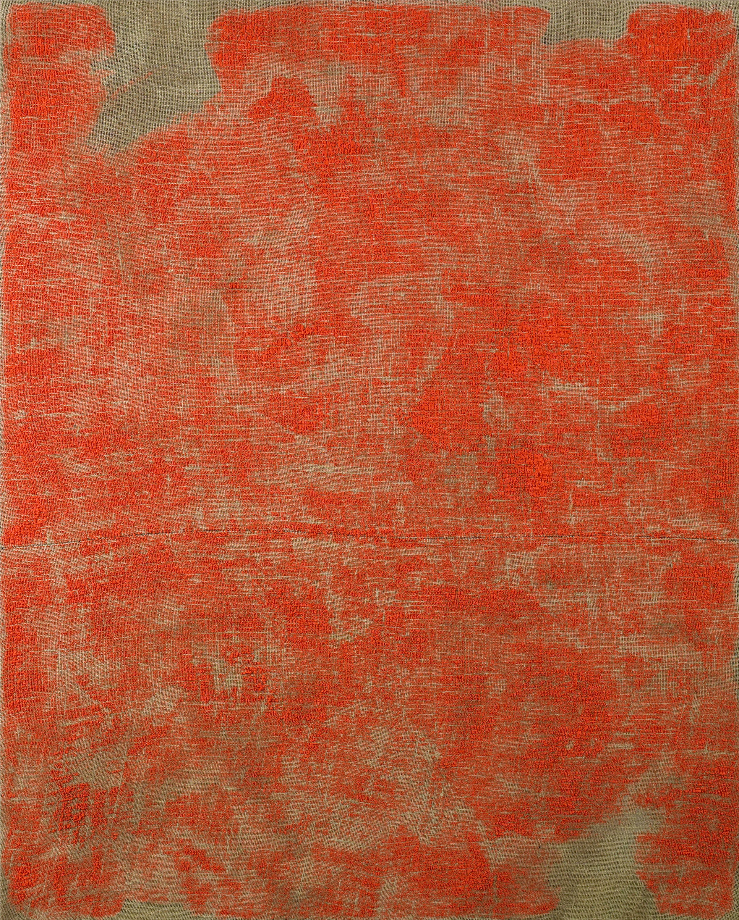 Porosity (Brushed II), 2014  , acrylic on burlap, 60 x 48 inches