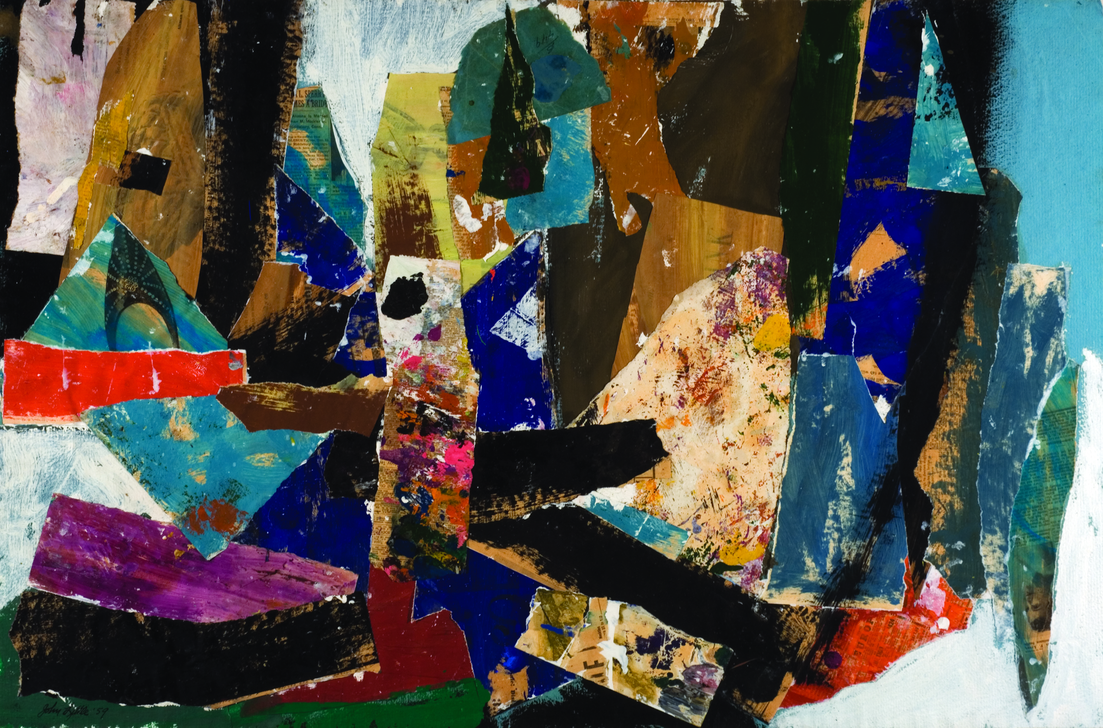Untitled, 1959  , oil and paper collage, 25 x 38 inches