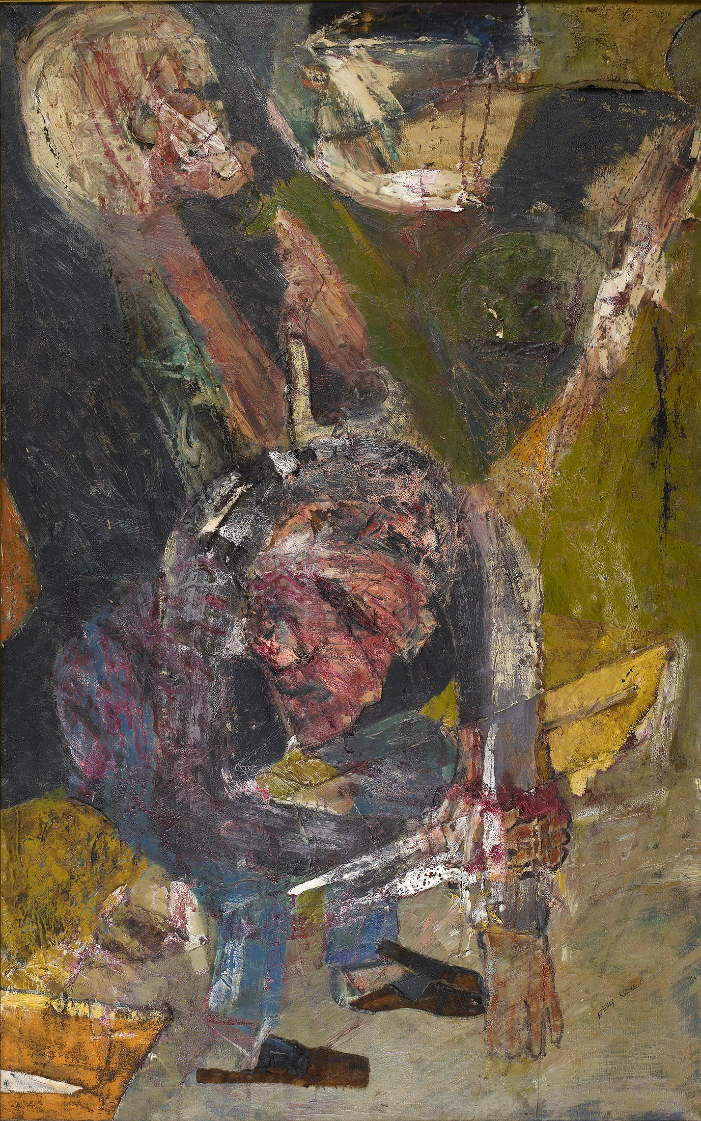 Untitled  , c. 1960s, collage on canvas, 48 x 30 inches