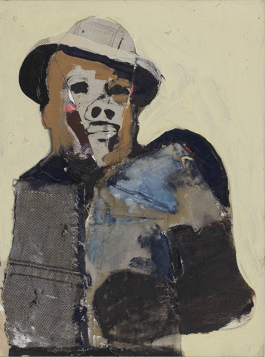 Jack J (Jack Johnson)  , 1970, oil and collage on canvas board, 12 x 9 inches