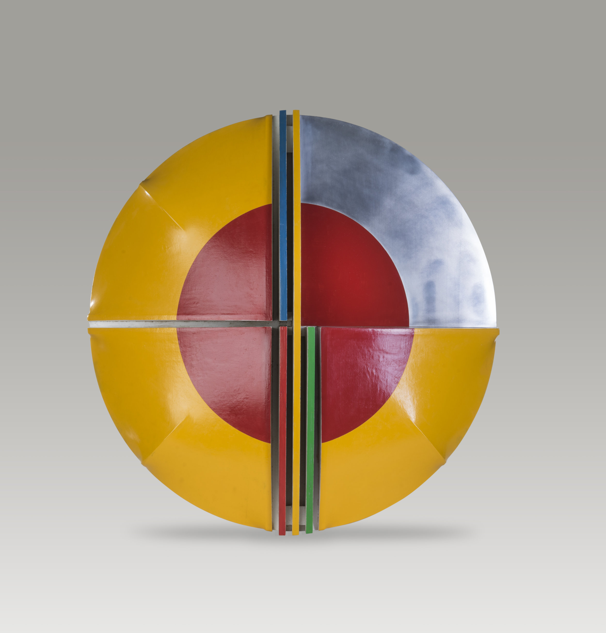 Fred Troller ,  Yellow Shield,  c. 1960, acrylic on shaped canvas, 70 3/4 x 11 x 7 3/4 inches