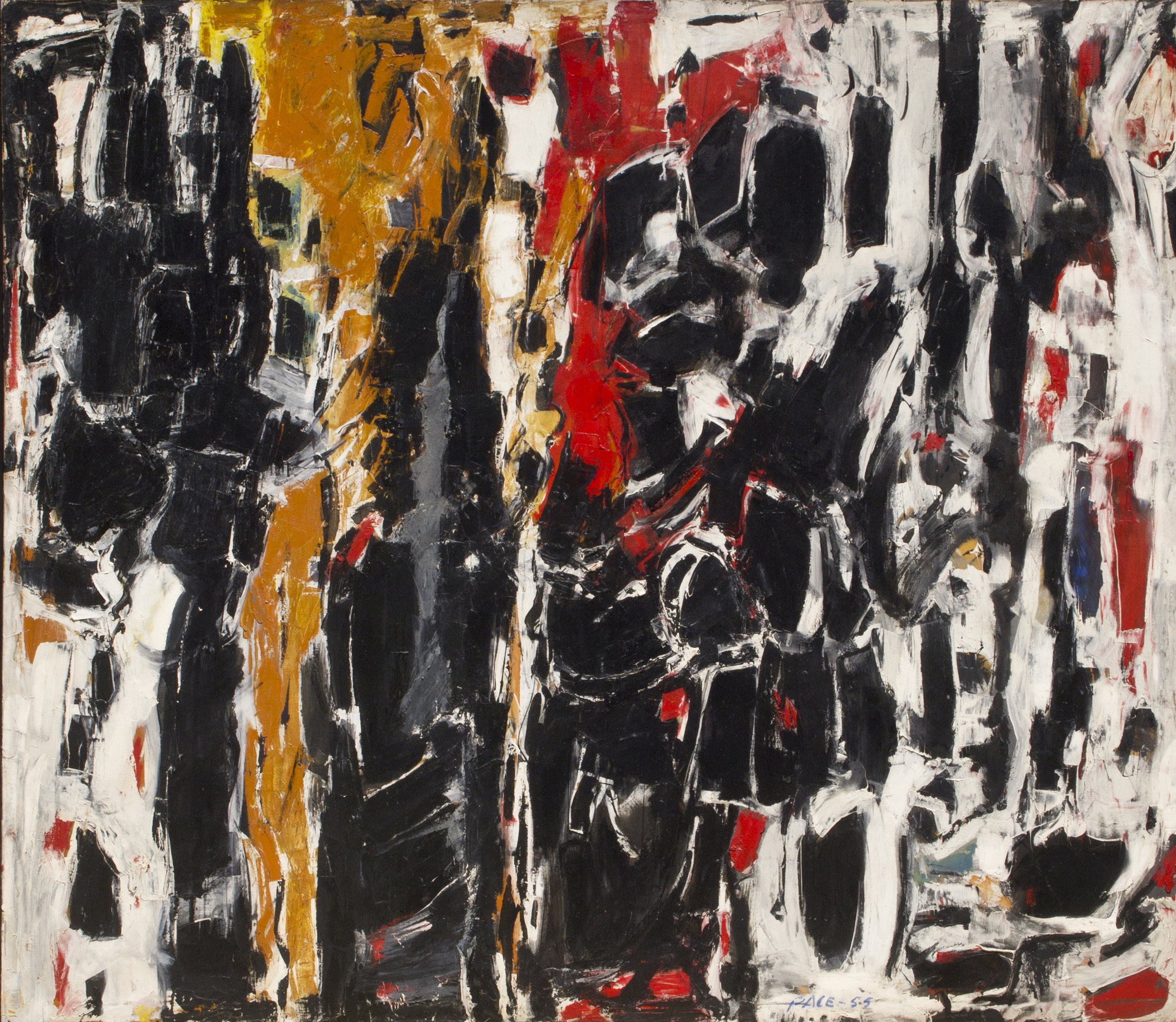 SOLD  Sentinels, 1955  , oil on canvas, 60 x 69 1/2 inches