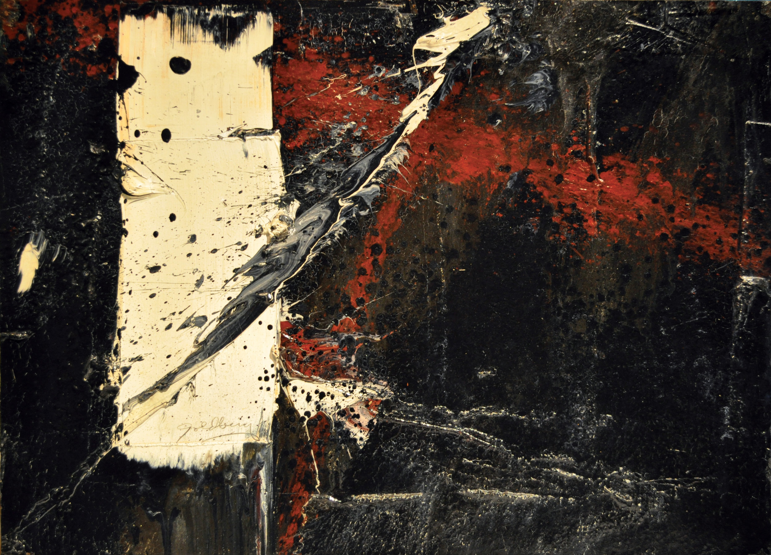 SOLD  Untitled, c. 1960  , oil and enamel on paper laid down on wooden panel, 11 x 15 inches