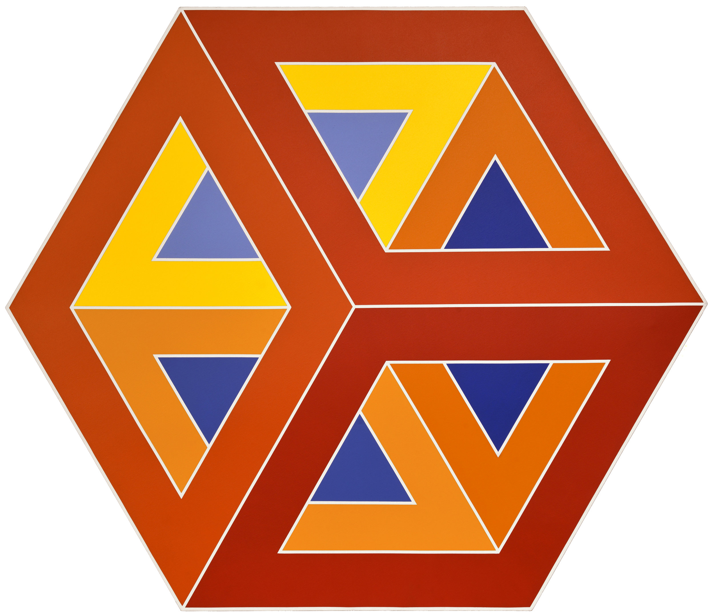Cube #2,  1975, oil on canvas, 51 1/2 x 60 inches