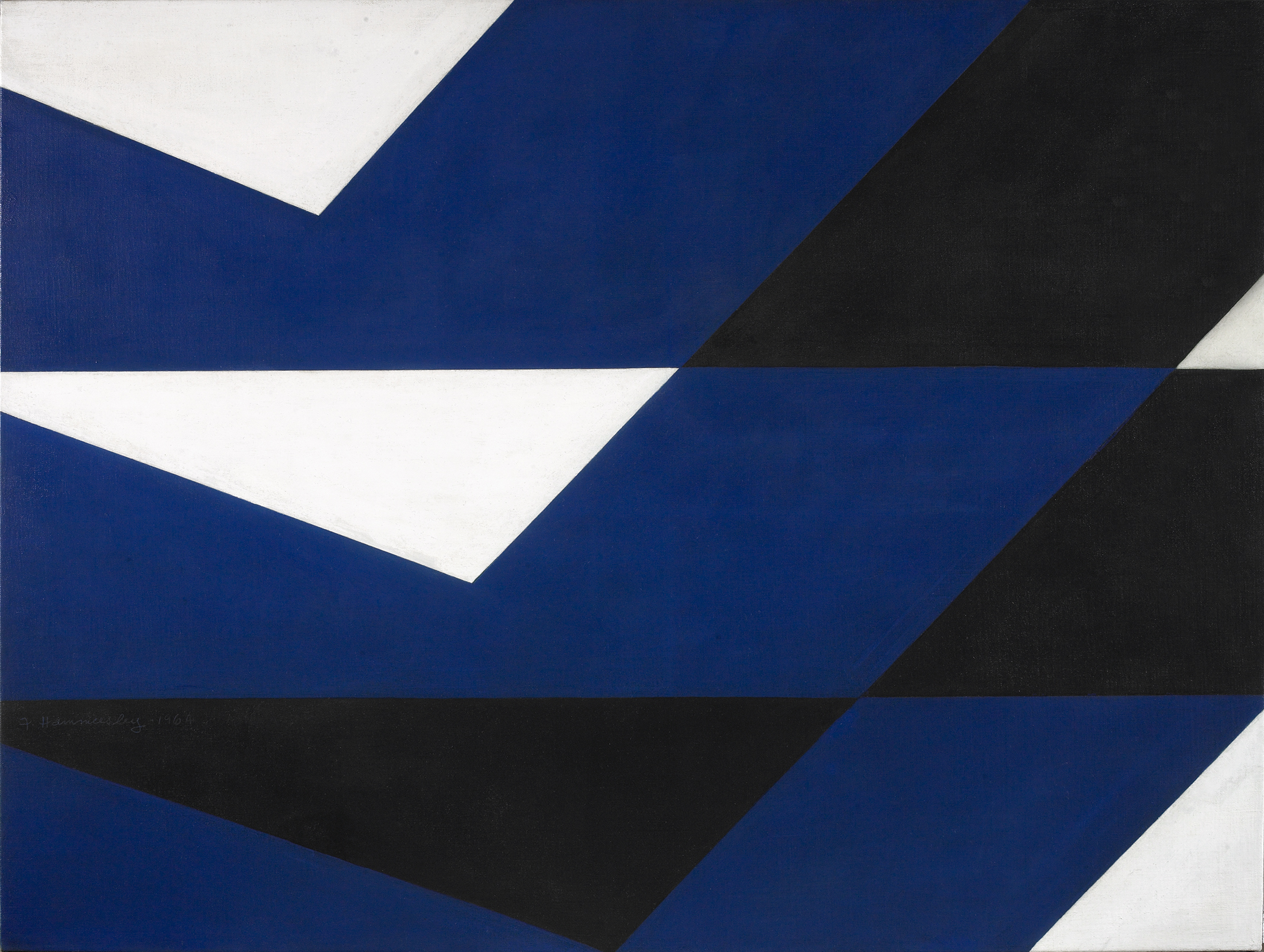 Frederick Hammersley ,  Right Slide, 1964 , oil on canvas, 38 x 50 1/2 inches