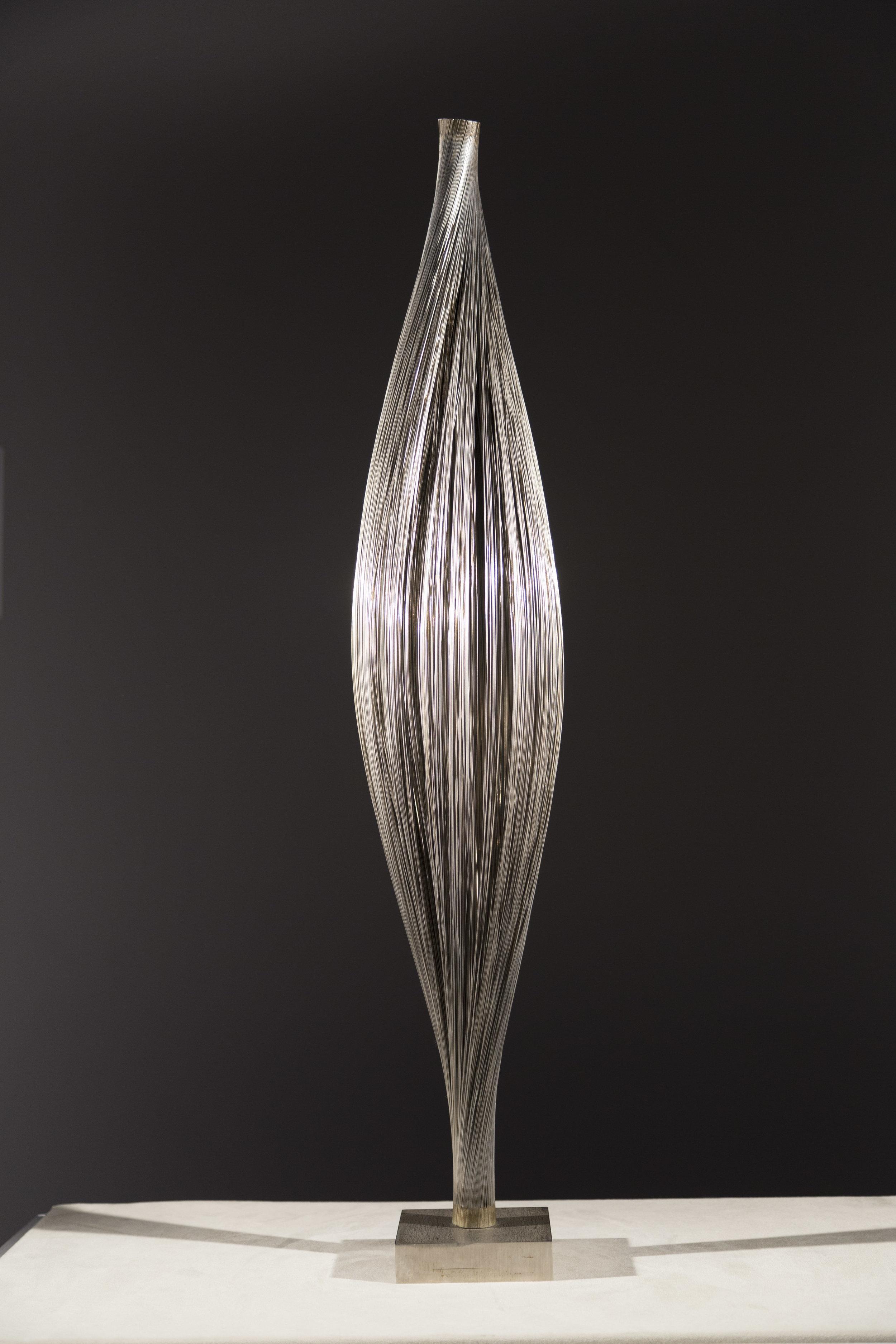 SOLD  Untitled (Wire Bundle)  , c. 1967, steel wire, bronze, silver solder, 30 1/4 x 5 1/2 diameter inches