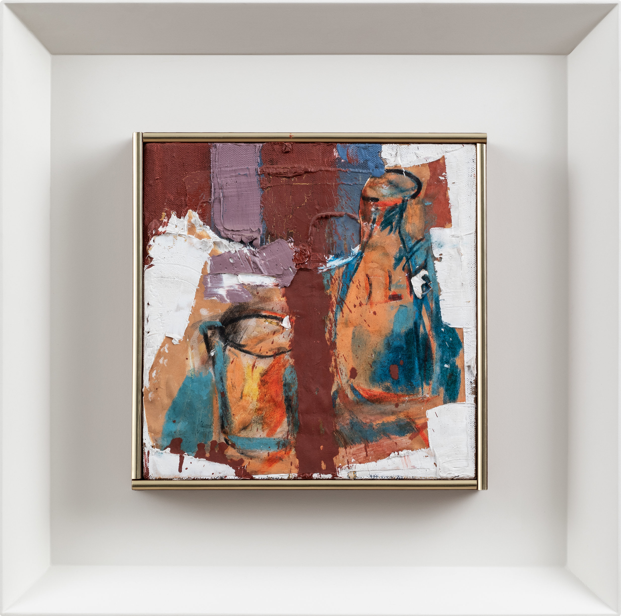 SOLD  Bottle and Glass,   Oil and paper collage on canvas, 1963, 10 x 10 inches