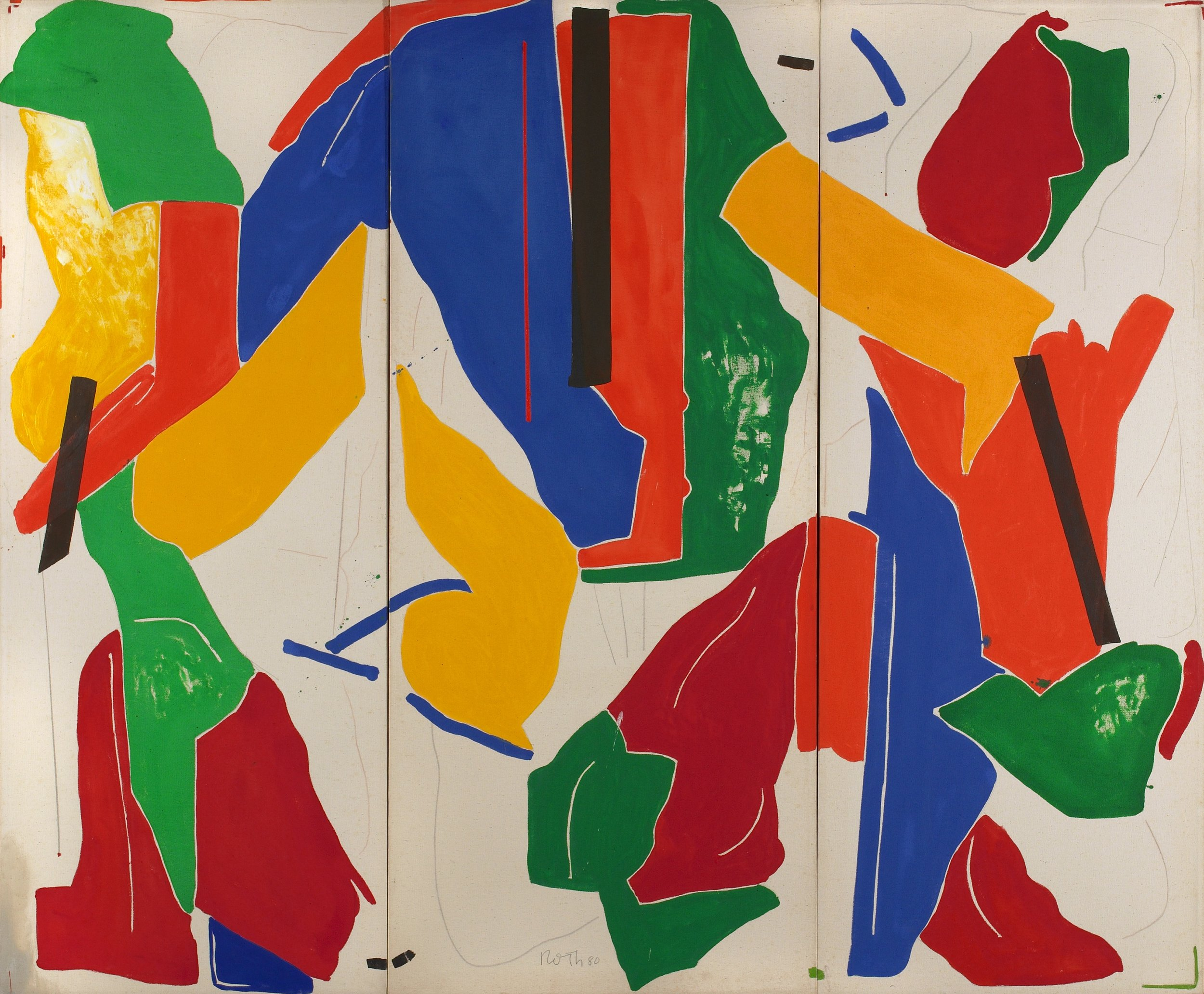 The Rich Perfume of Forgetfulness , 1980, Acrylic on canvas, 67 x 81 inches: 67 x 26 inches each