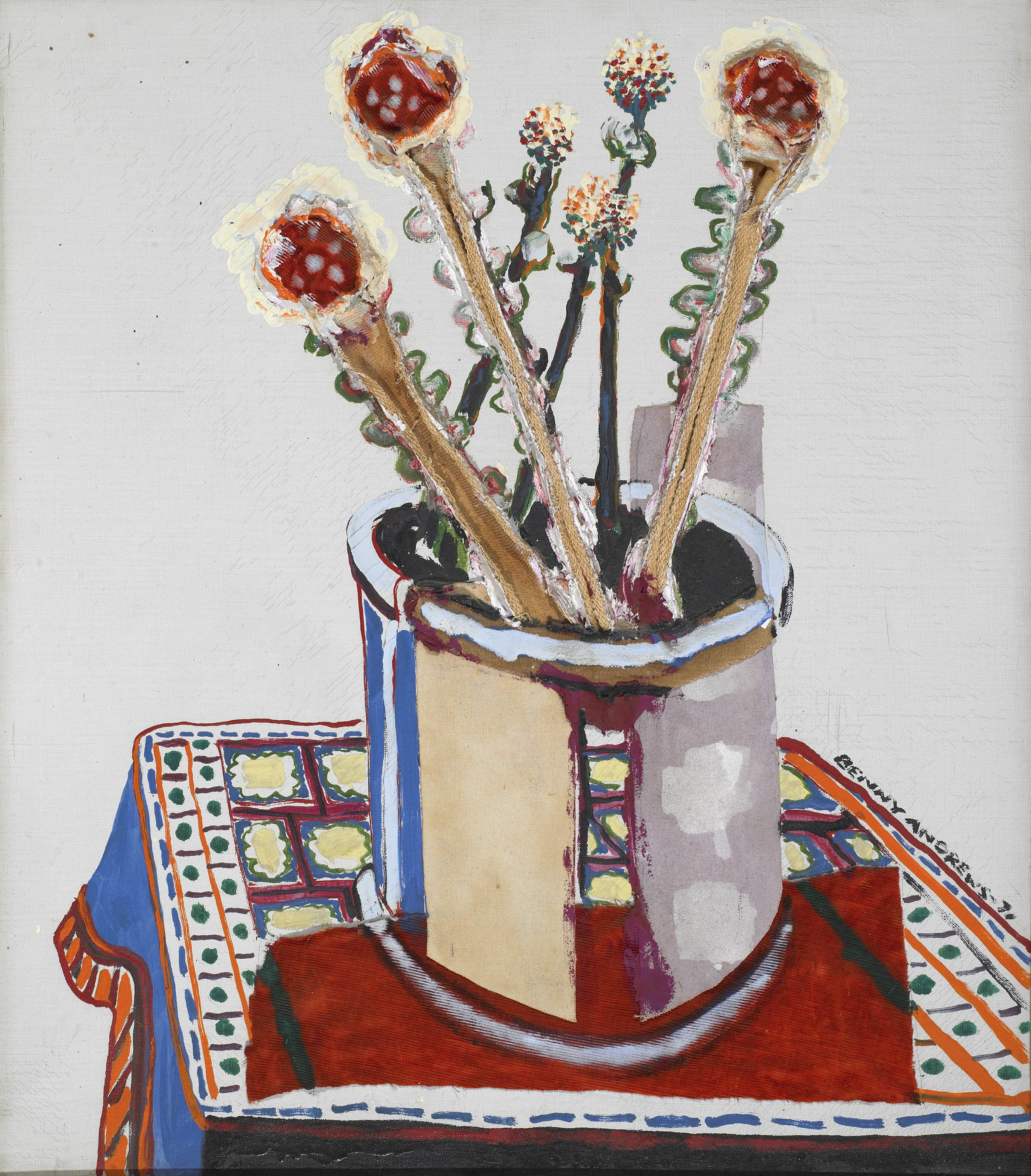 SOLD  Untitled (Still Life), 1971,   oil and collage on canvas, 27 x 24 inches