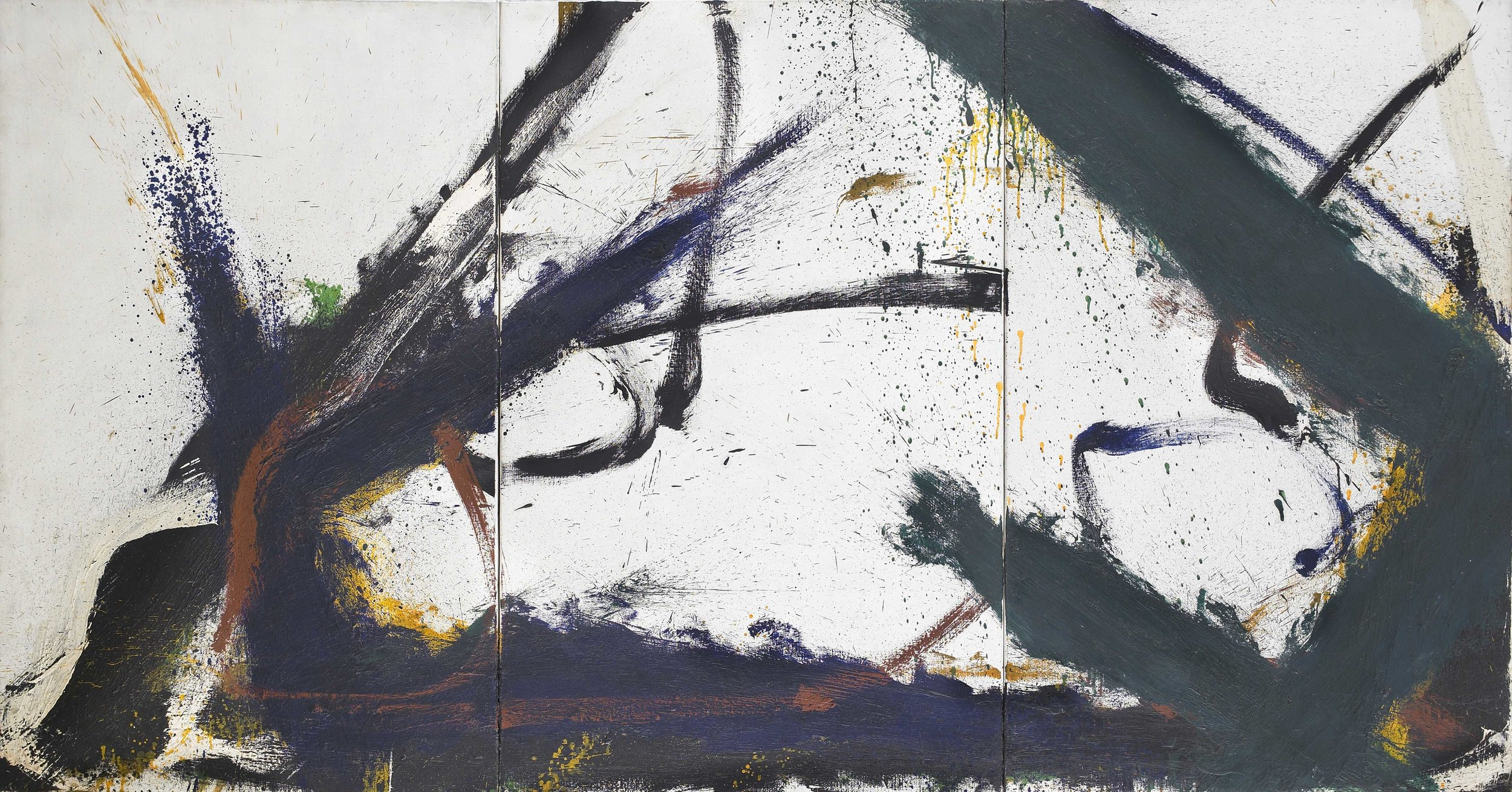 SOLD  Untitled    (triptych), o il on canvas, 1966, 40 x 78 1/2 inches
