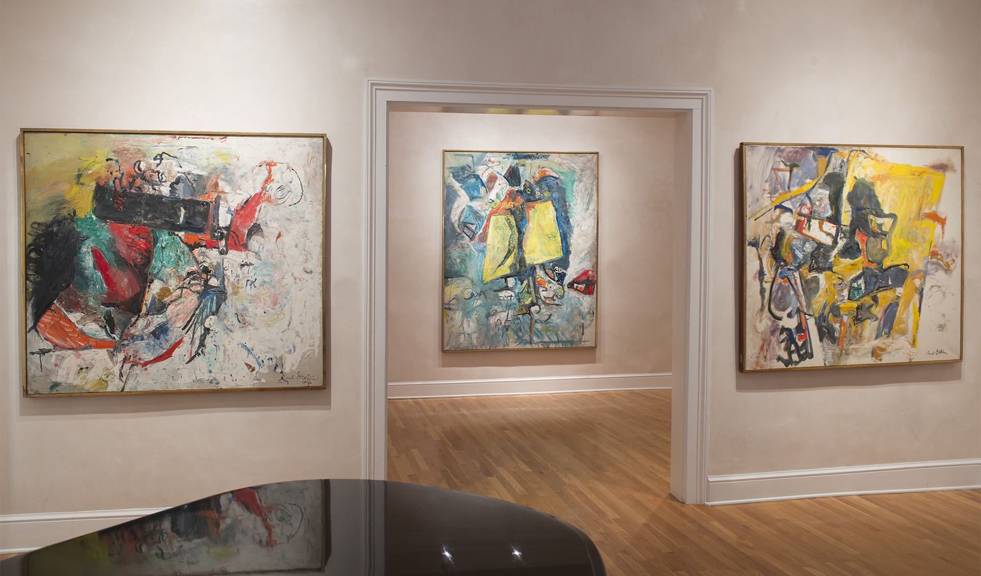 Paul Burlin installation at Peyton Wright Gallery, Santa Fe (left to right:  Black T ,  It Is , and  Scepter )