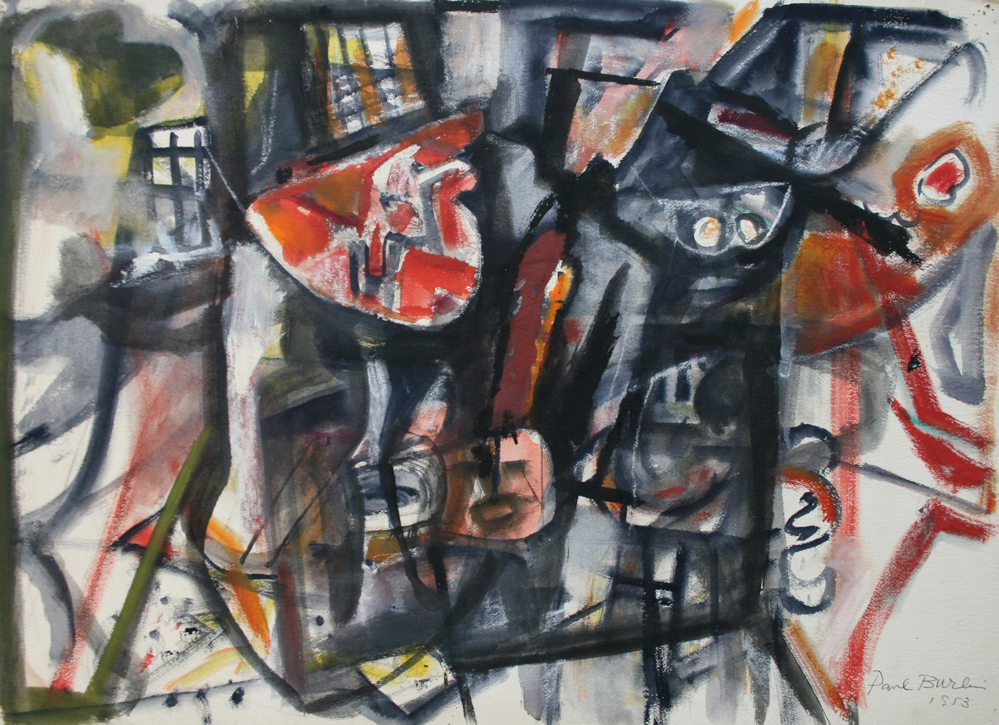 Untitled (A Walk in New York)  , 1953, watercolor on paper, 22 1/2 x 30 1/2 inches