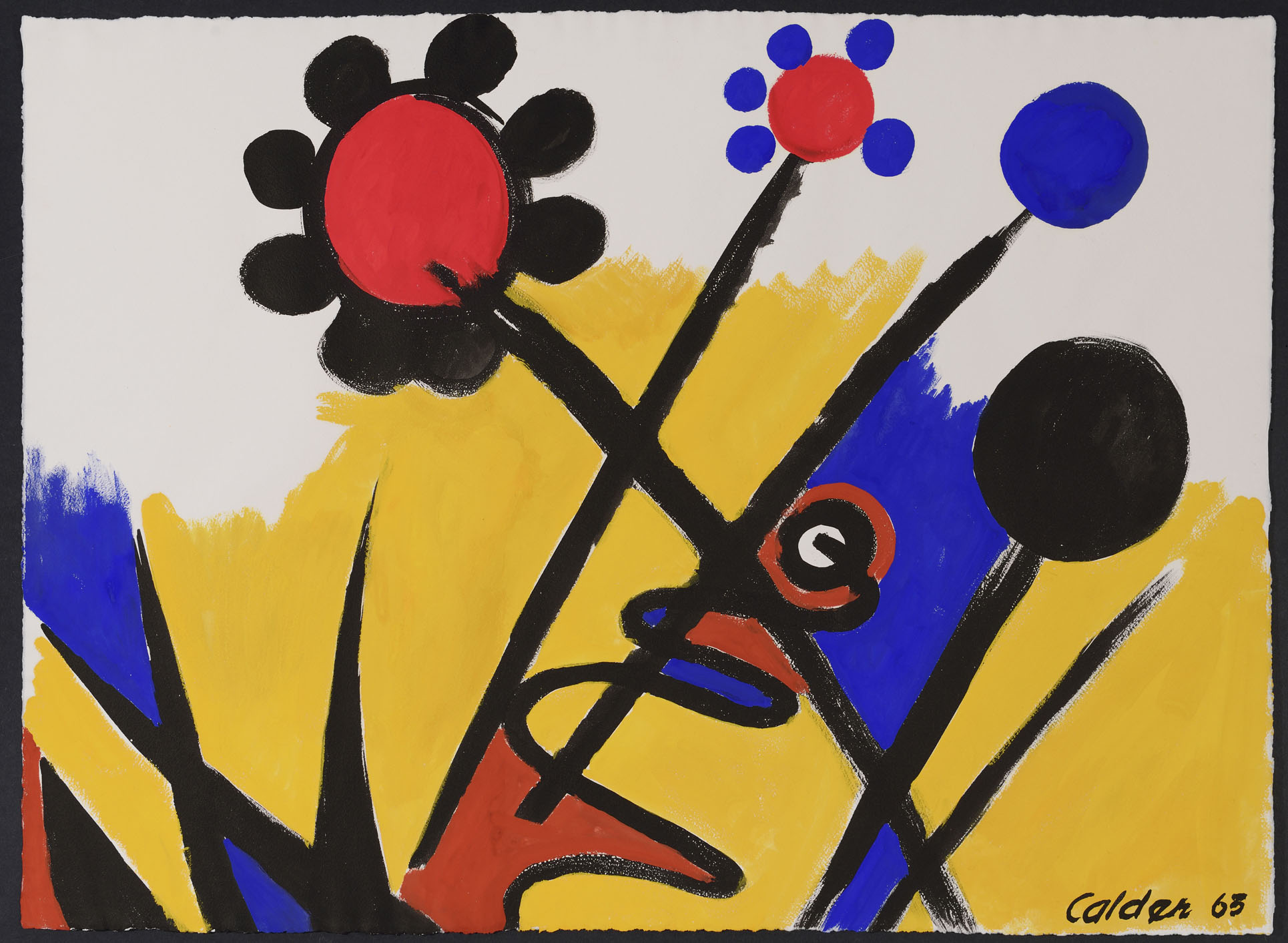 SOLD  Black and Blue Petals,   Gouache on paper, 1963, 22 1/2 x 31 inches