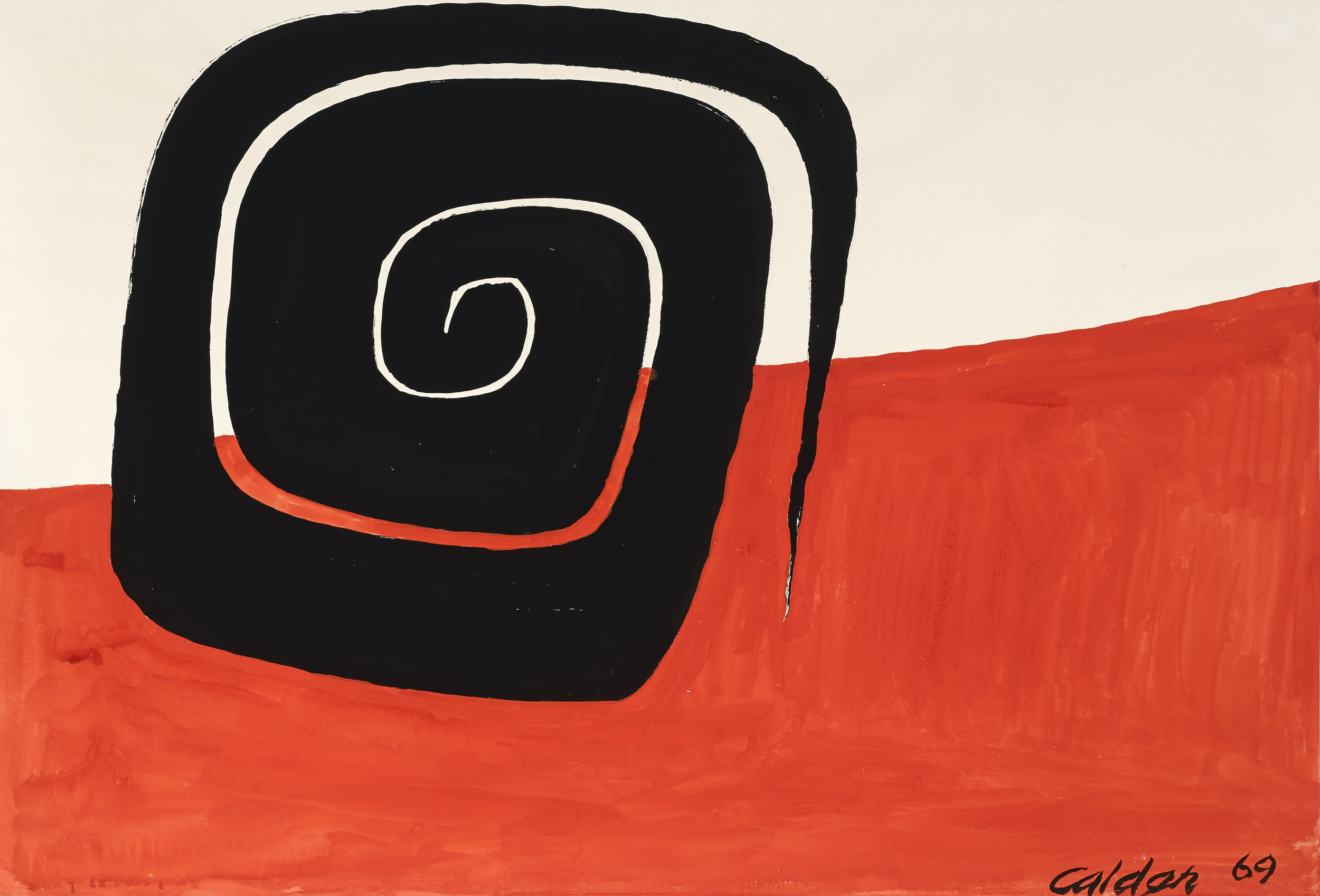 SOLD     Angled Spiral, 1969 , gouache and ink on paper, 29 1/8 x 43 inches
