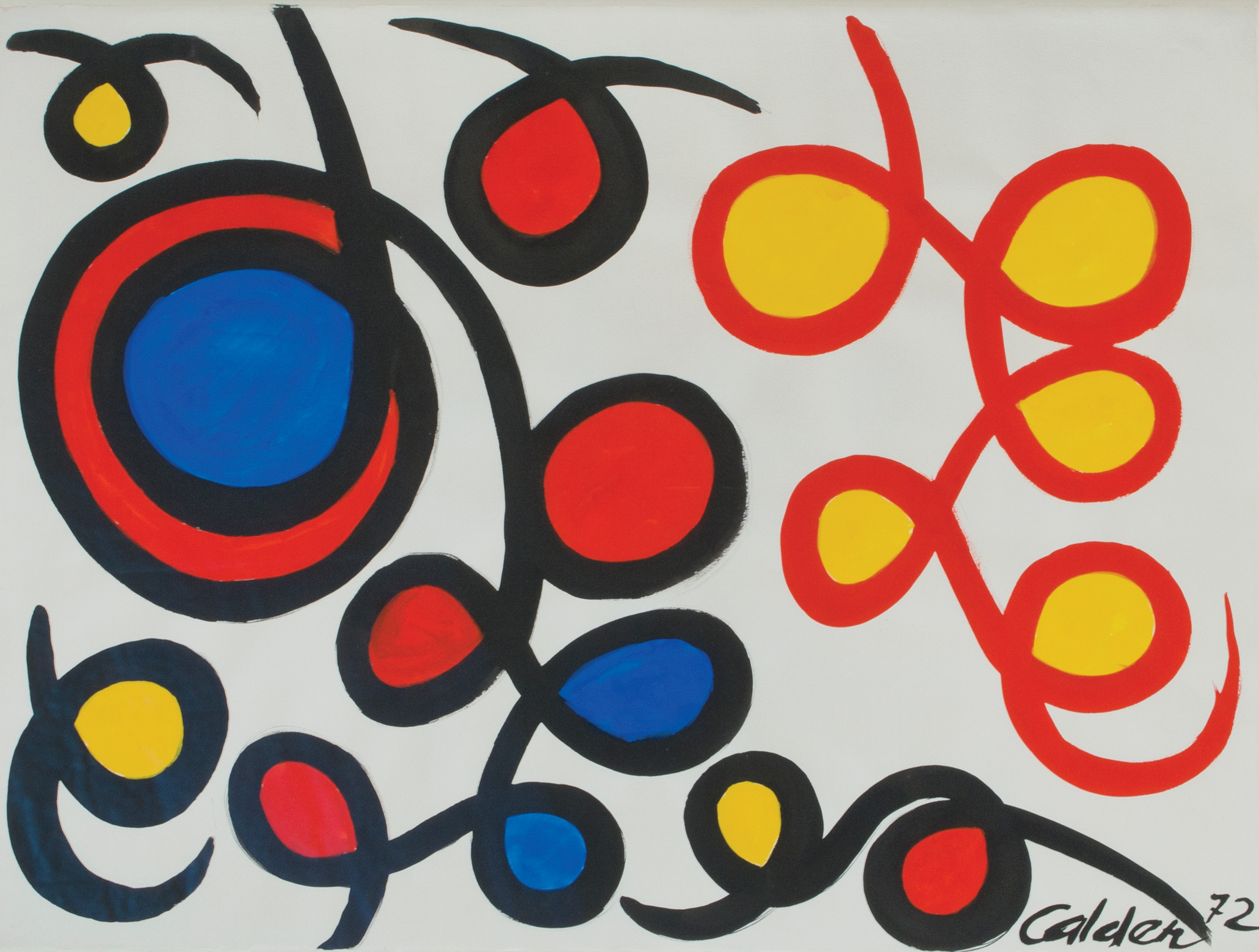 SOLD   Loops Filled In, 1972 , gouache on paper, 23 x 31 inches