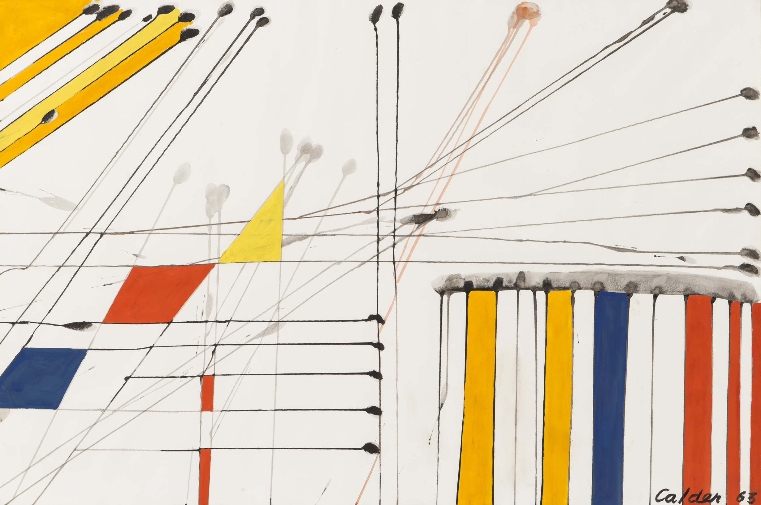 Untitled   ,  Ink and gouache on J. Whatman watermarked paper, 1963, 26 3/4 x 40 inches