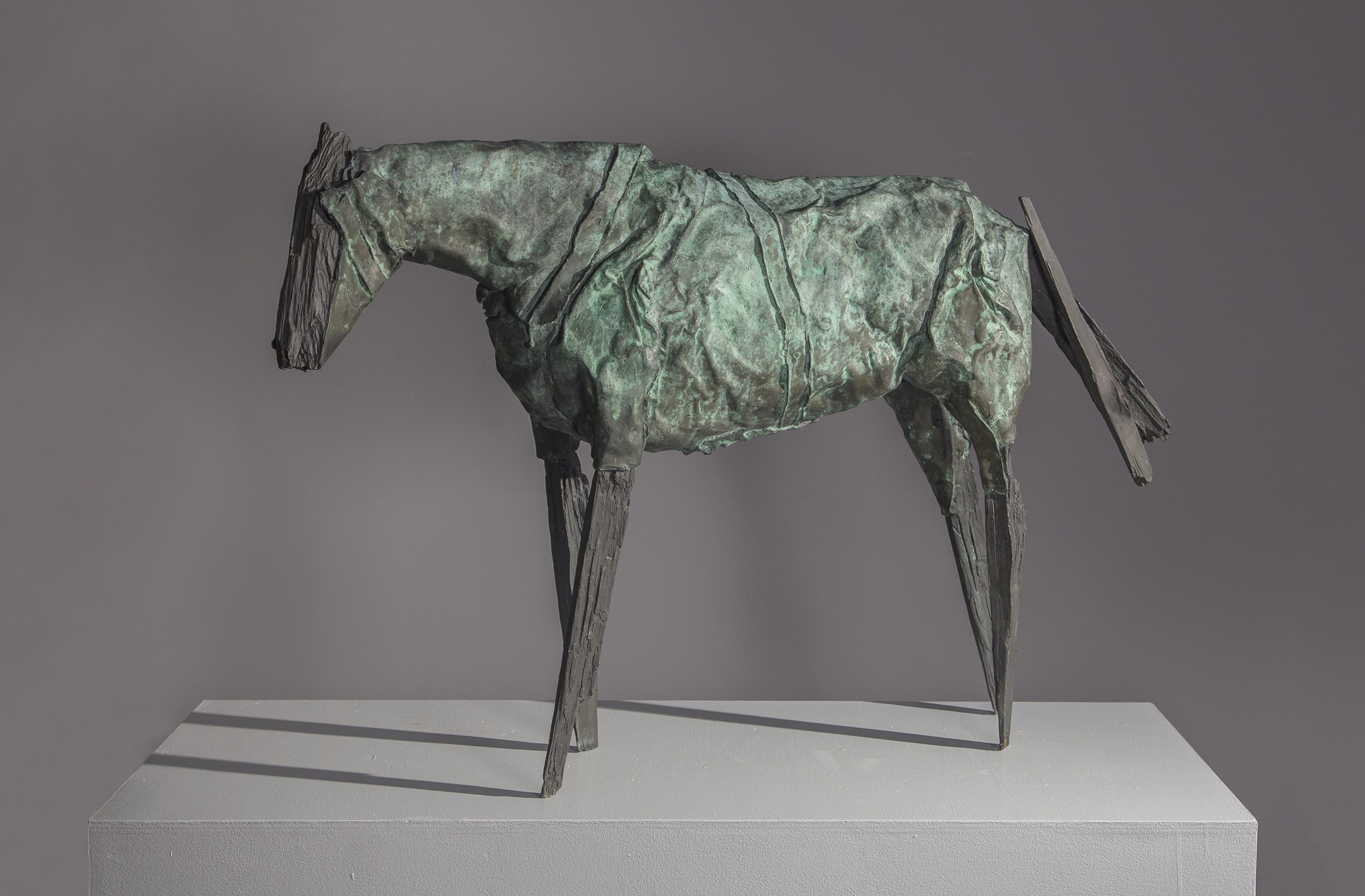 SOLD Untitled,   Bronze with green patina, 1985, 26 ⅜ x 41 ⅜ x 8 ¼ inches