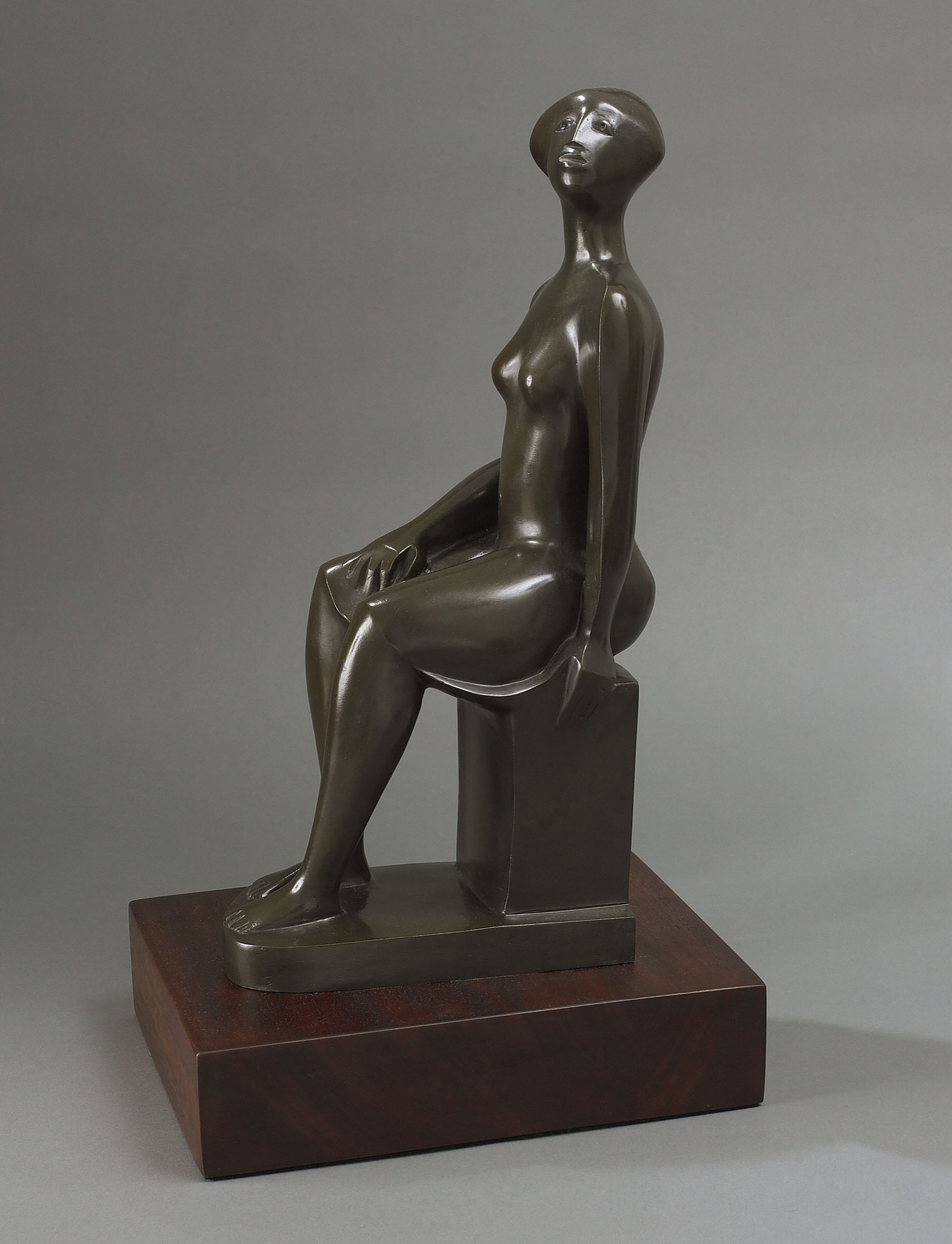 SOLD  Mujer Sentada,   c. 2003, bronze sculpture, 17 1/2 x 6 x 9 inches