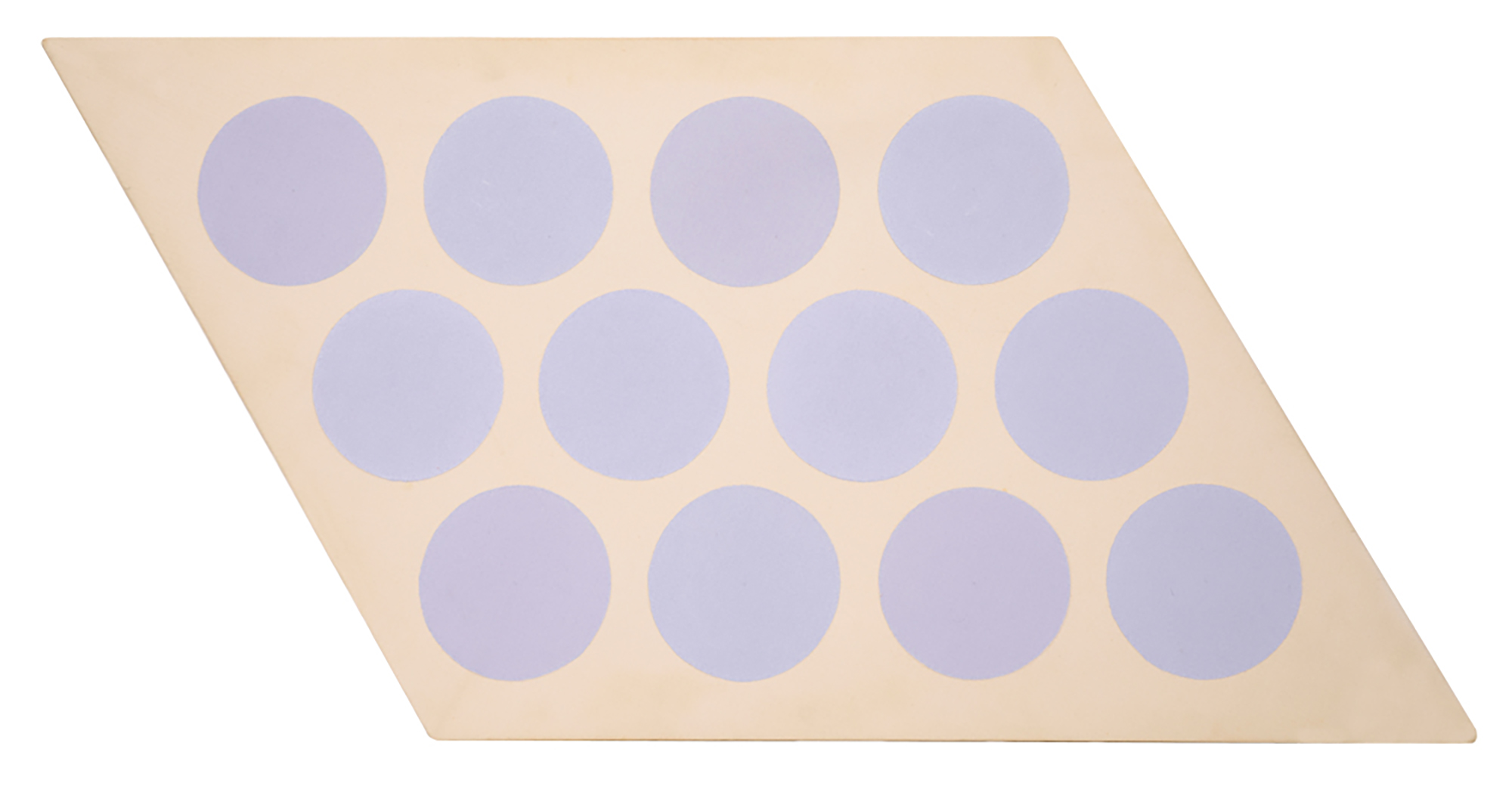 SOLD  Untitled (Lavender Circles)   ,  Acrylic on shaped canvas, 1966, 21 x 30 1/2 inches